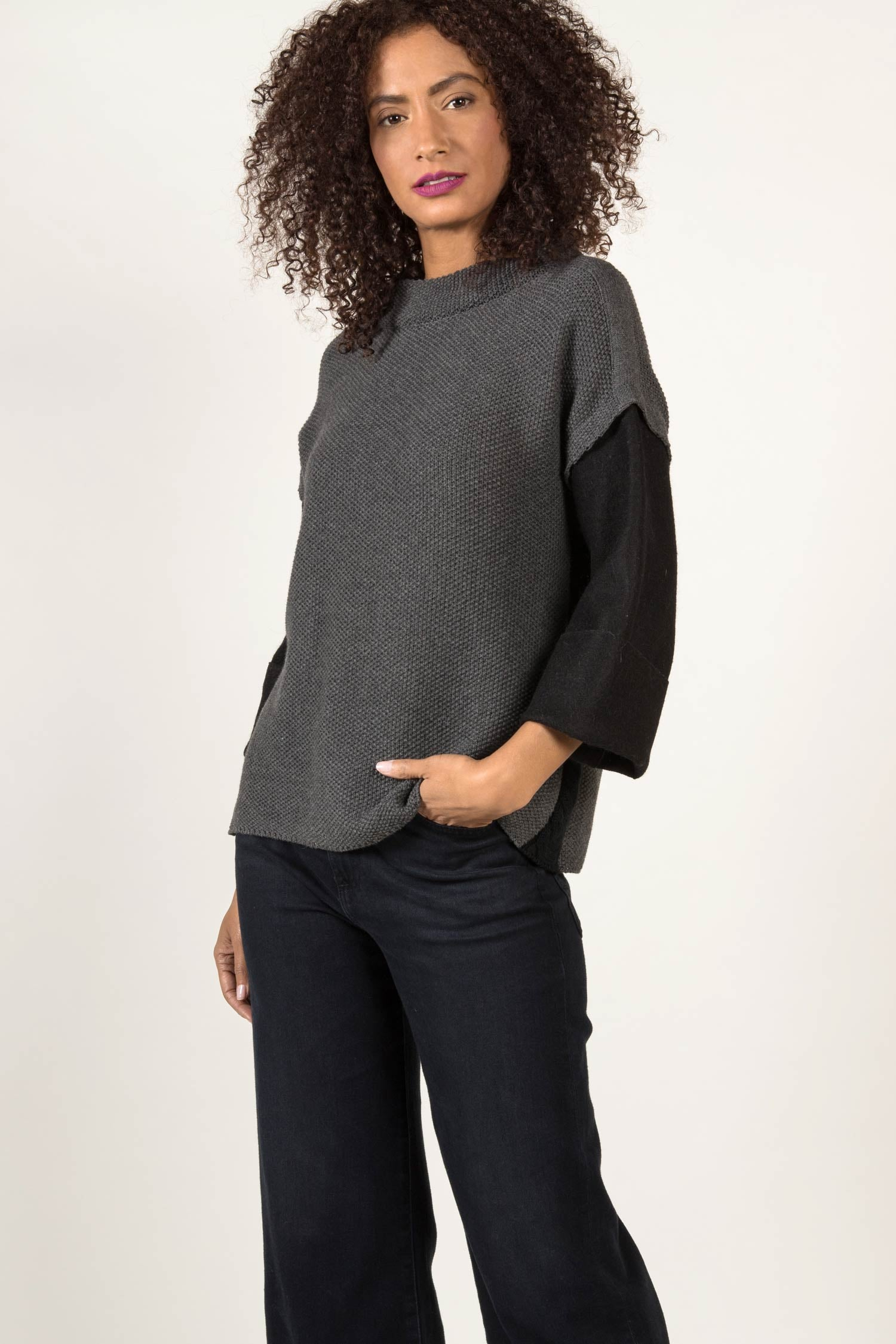 Womens Organic Cotton Sweater | Alpaca Sleeve Sweater | Gray Black
