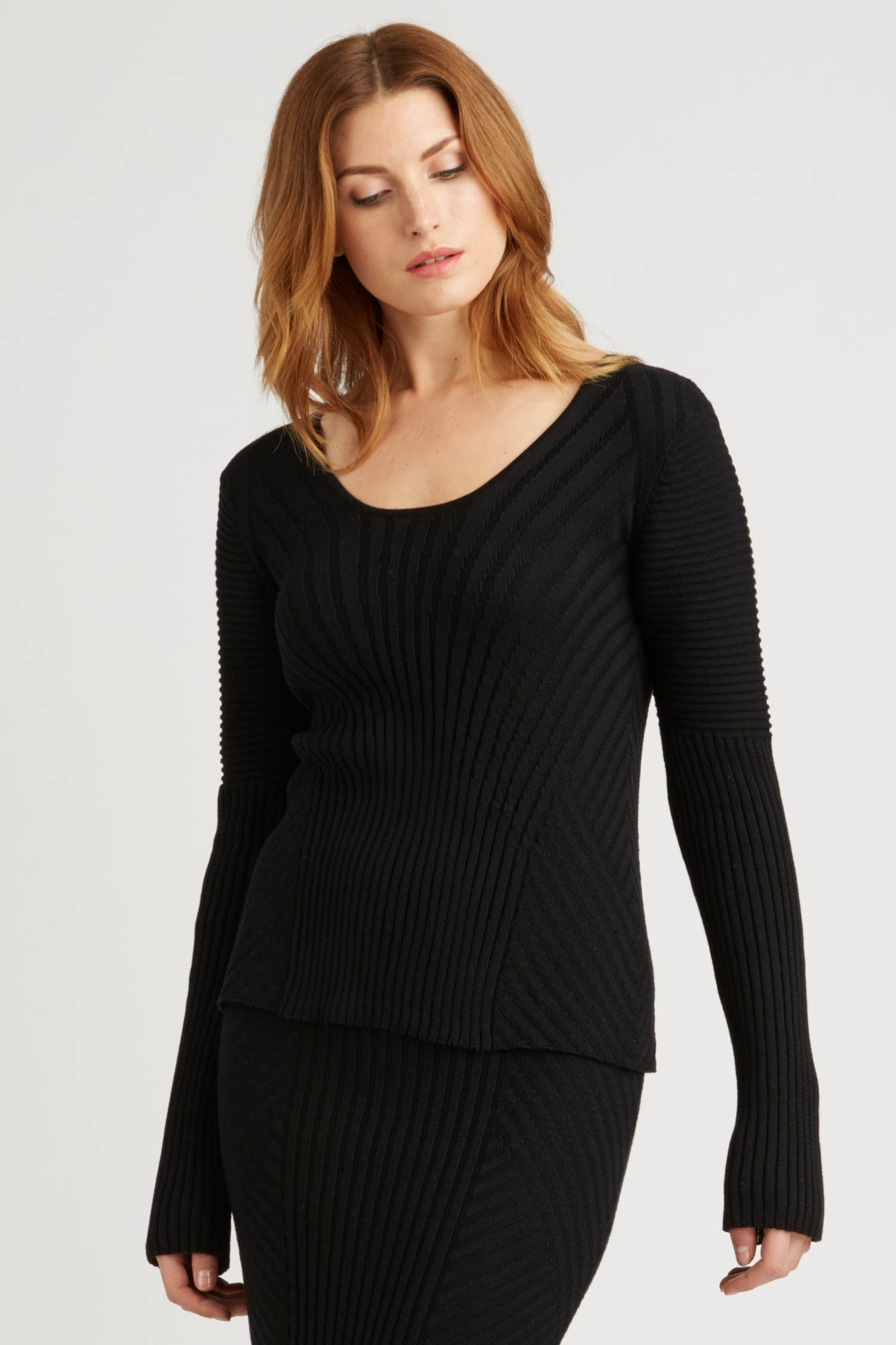 Womens Knit Pullover Top in Black | Organic Cotton Sweater
