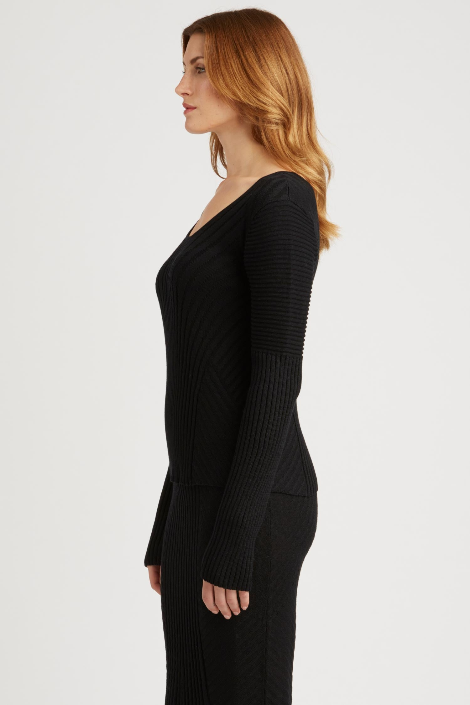 Womens Knit Sweater Top in Black | Organic Cotton Clothing