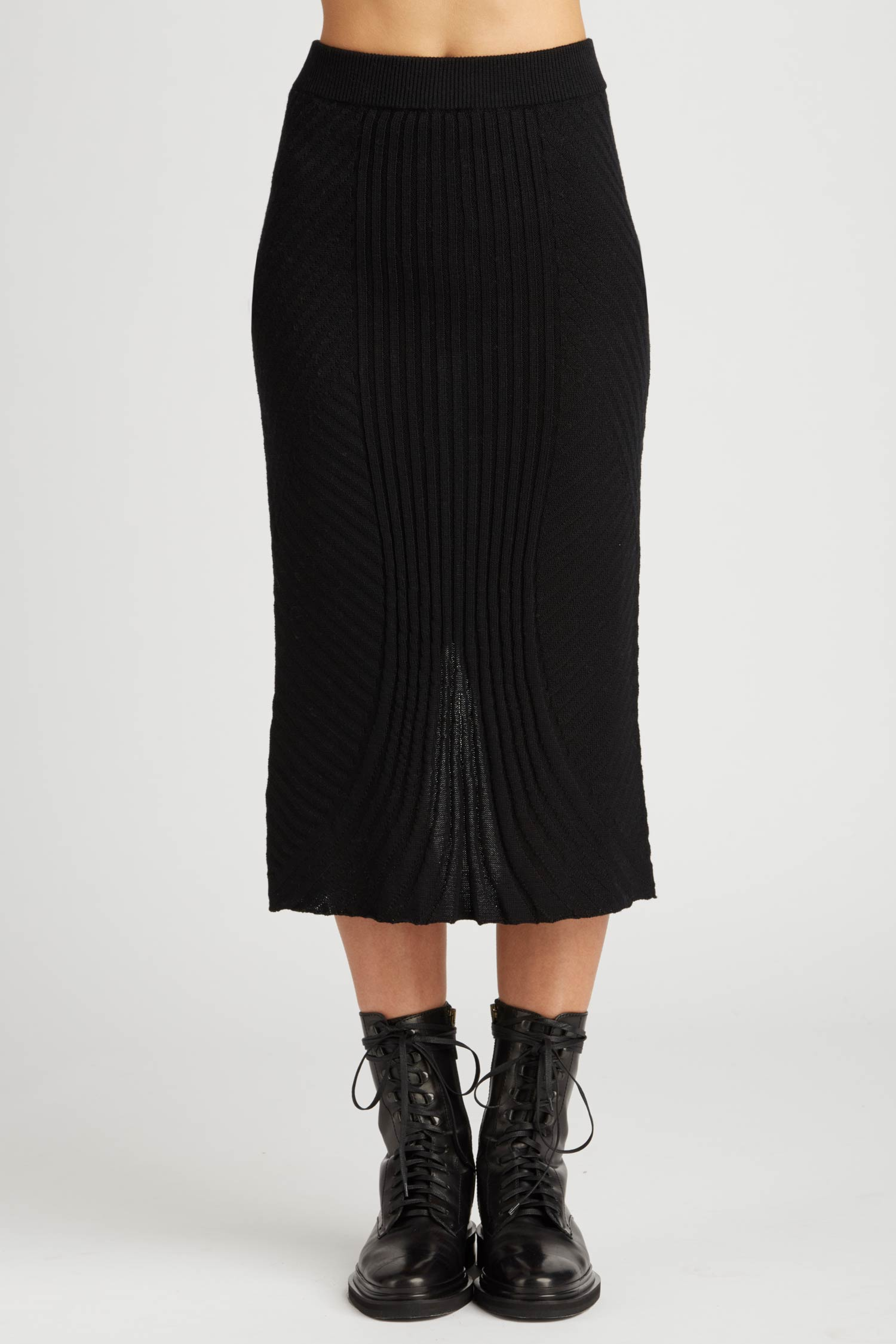 Alternating Rib Knit Skirt - Indigenous