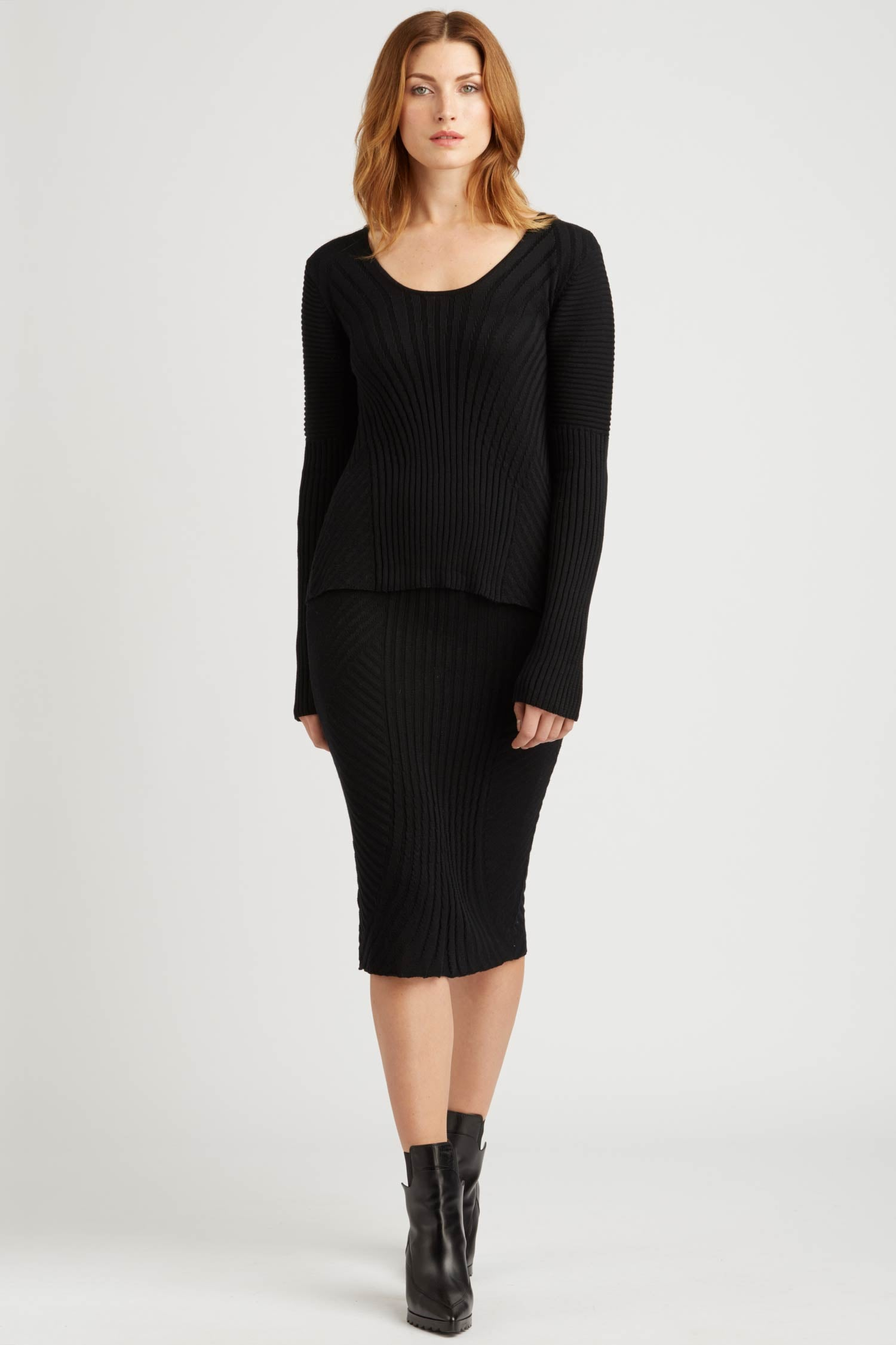 Womens Rib Knit Skirt in Black | Sustainable Fashion