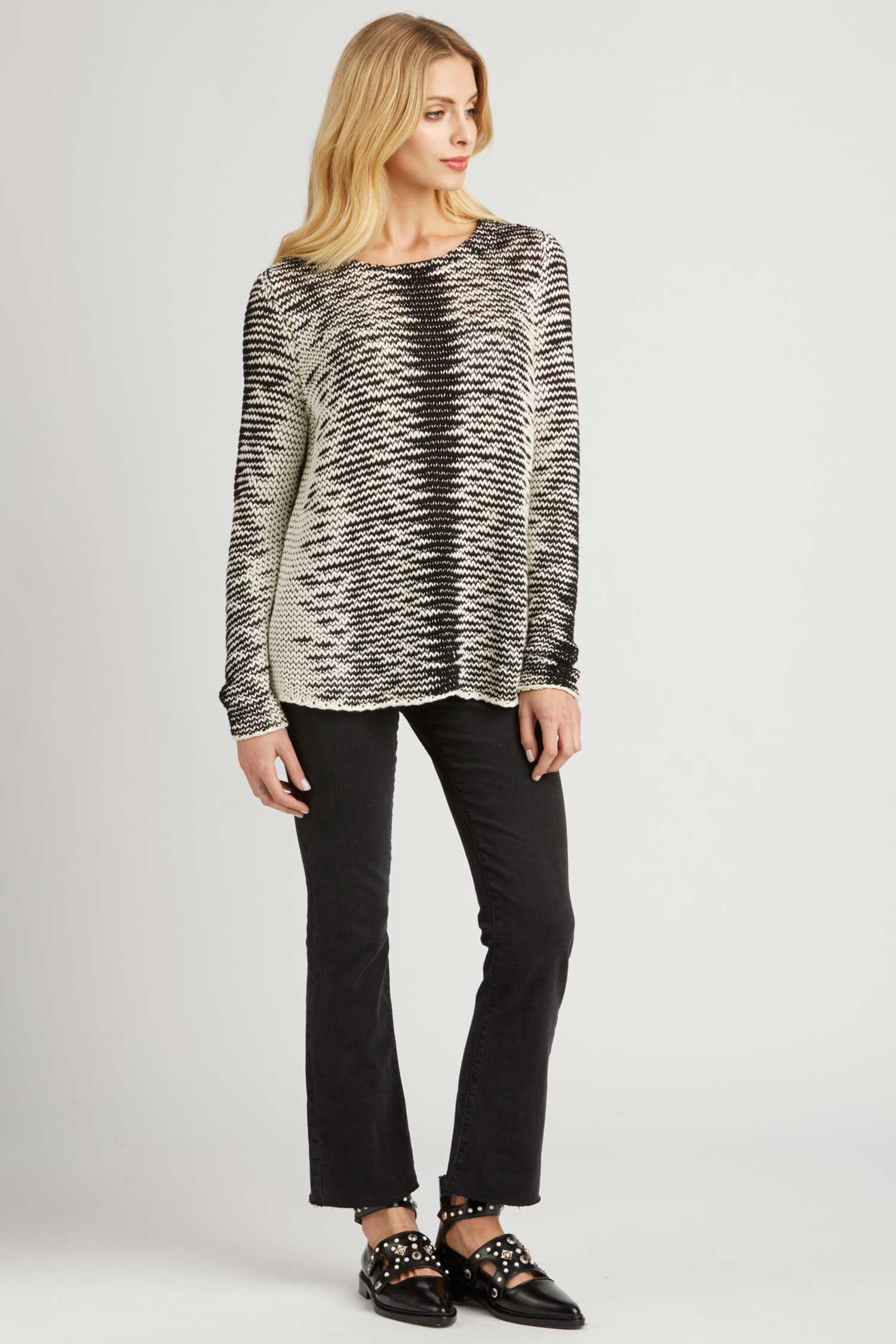 Womens Organic Cotton Knit Sweater | Ivory Black Pattern