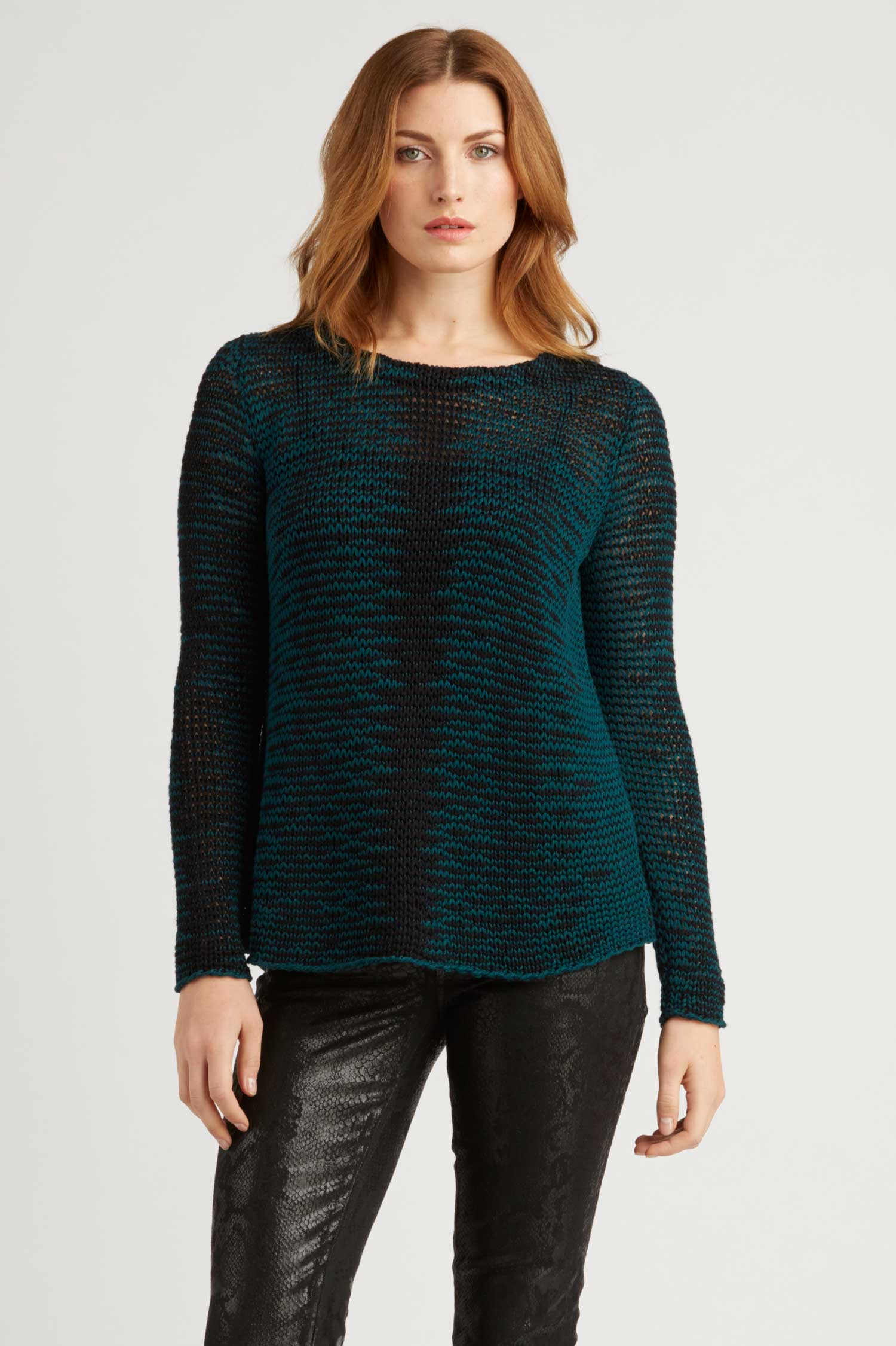 Womens Artisan Knit Sweater | Organic Cotton Clothing | Teal Black