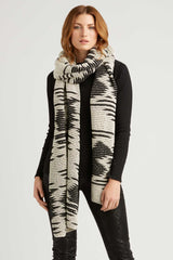 Womens Fair Trade Wrap Scarf - Handmade by Artisans in Peru - Ivory Black