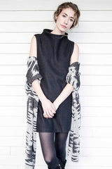 Womens Boiled Alpaca Wool Sleeveless Dress in Black