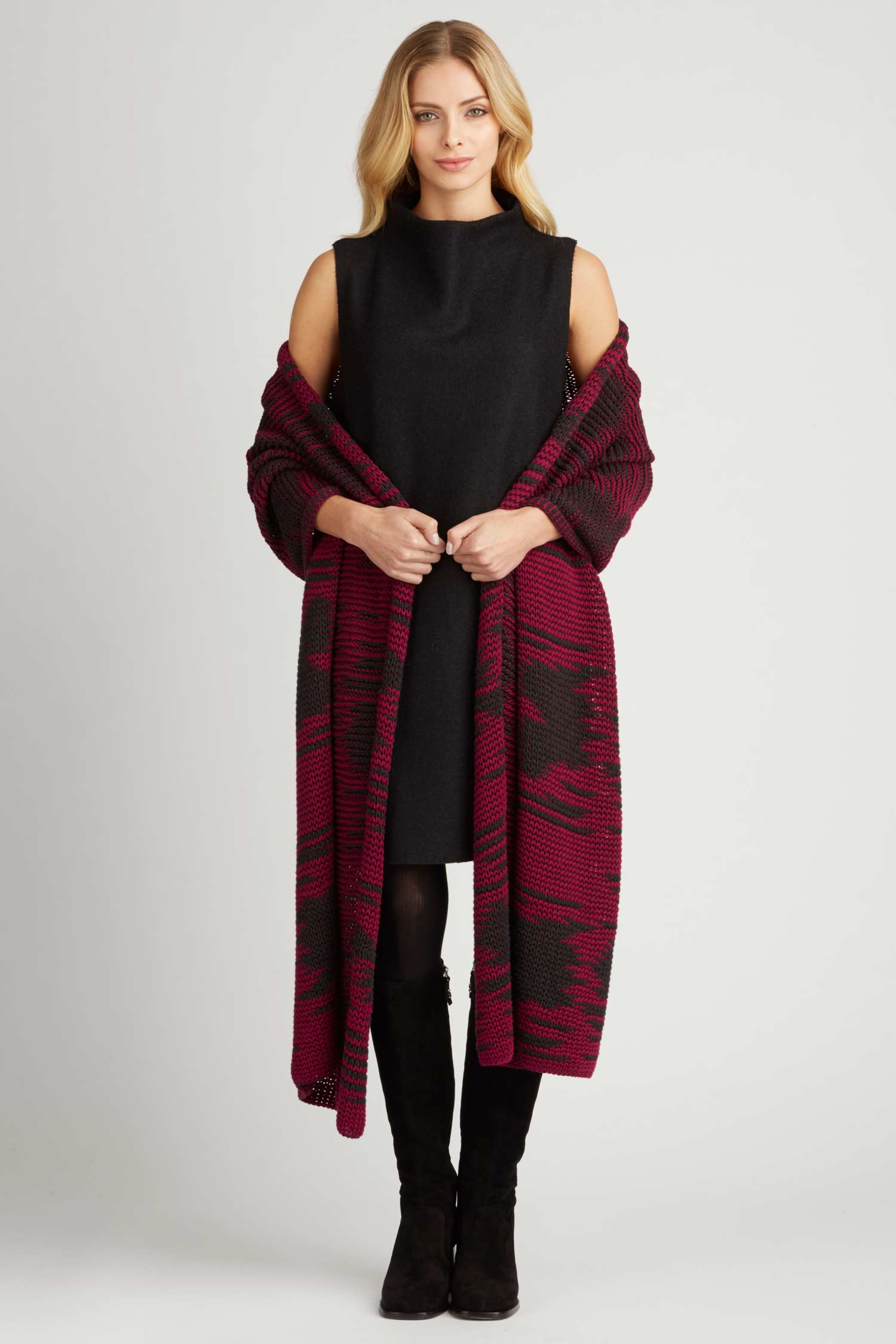 Womens Winter Shawl Wrap - Handcrafted Knit in Red and Black