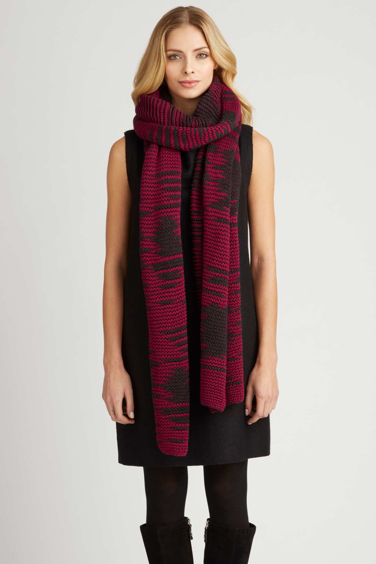 Womens Winter Scarf Wrap - Handcrafted Knit in Red and Black