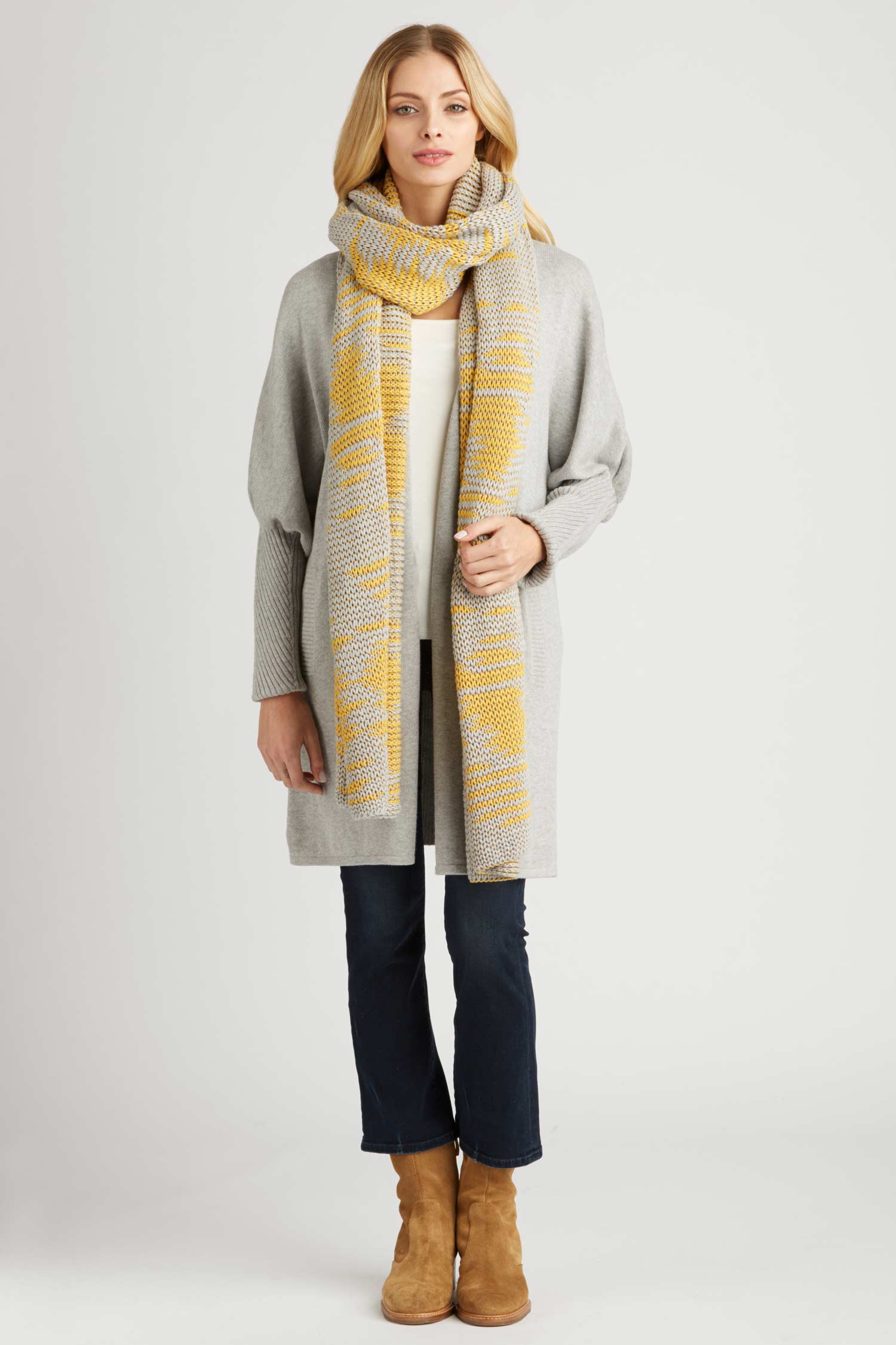 Womens Knit Wrap Scarf in Gray and Yellow | Fair Trade Gift
