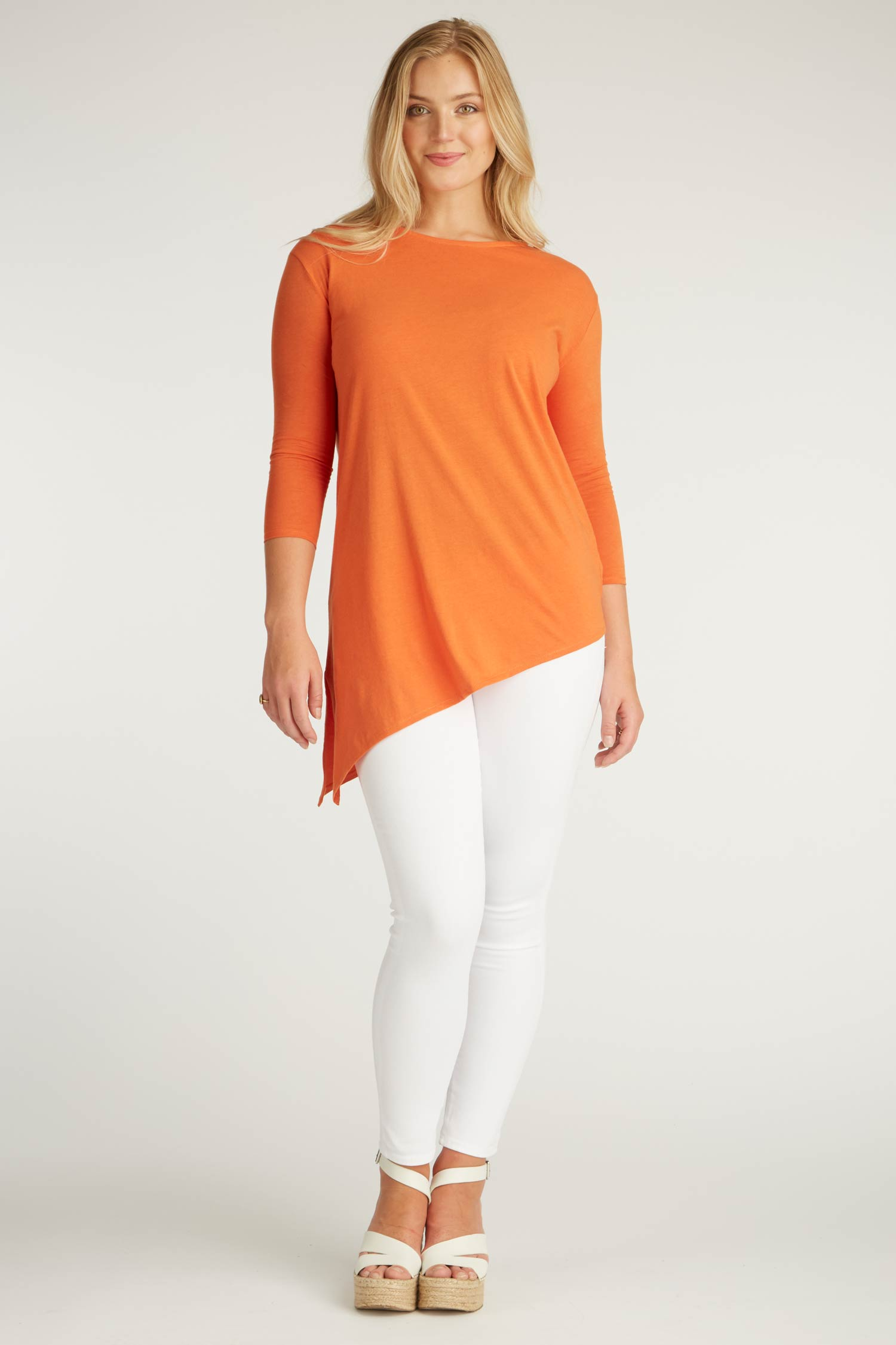 Womens Organic Cotton Top | Orange Asymmetrical Tunic | Indigenous