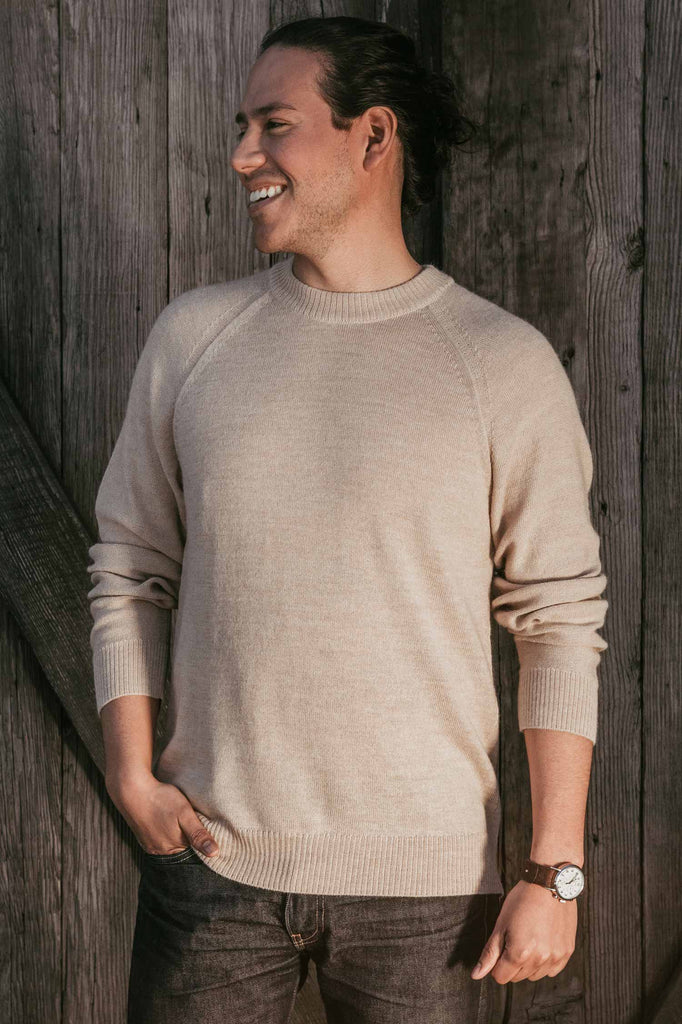 Mens Alpaca Sweater | Tan Natural Raglan Crew Pullover