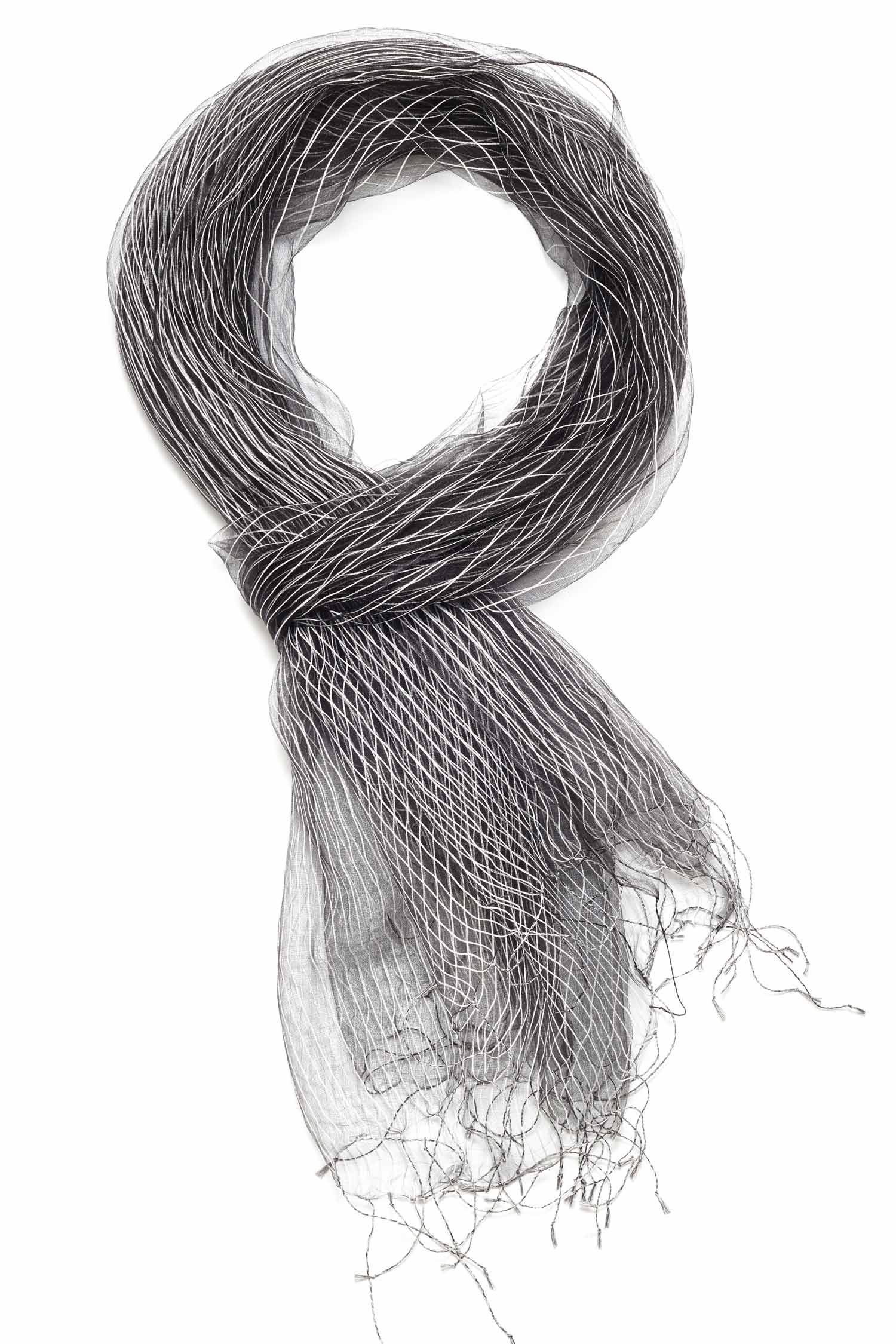 Handloomed Silk Scarf | Parallel Structure Scarf | Black White
