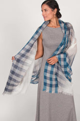 Womens Fair Trade Scarves | Handloomed Ombre Blue Plaid Scarf