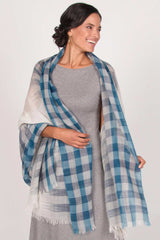 Handloomed Wool Scarf | Fair Trade | Blue Ombre Plaid Scarves