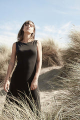 Womens Sleeveless Boatneck Dress | Black | Indigenous