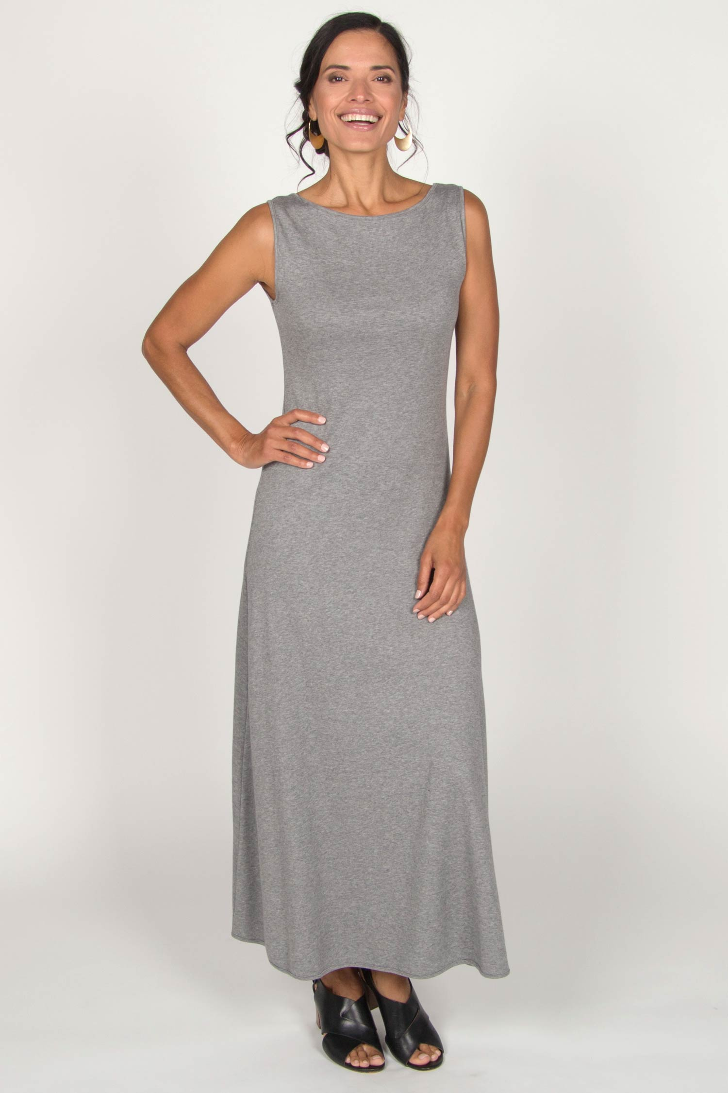 Womens Boatneck Maxi Dress in Gray | Sustainable Fashion