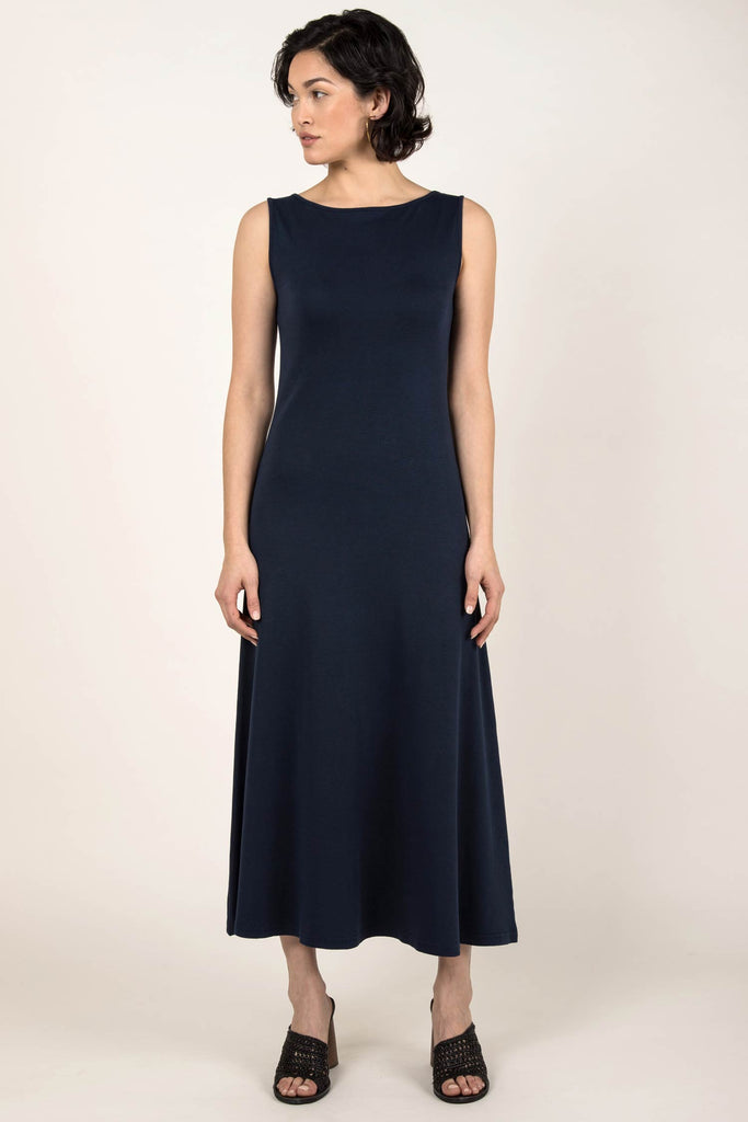 Womens Organic Cotton Dress | Navy Blue Boatneck Dress | Indigenous