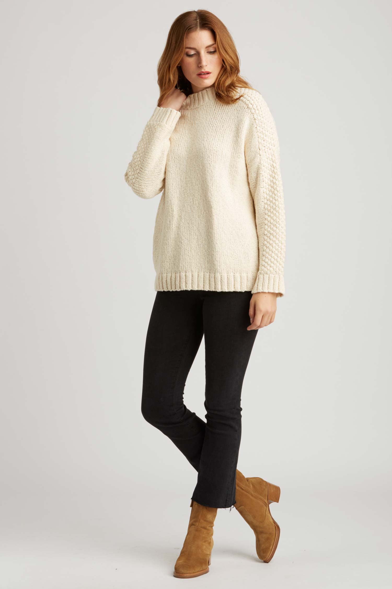Womens Organic Cotton Sweater - Bobble Sleeve Pullover - Ivory