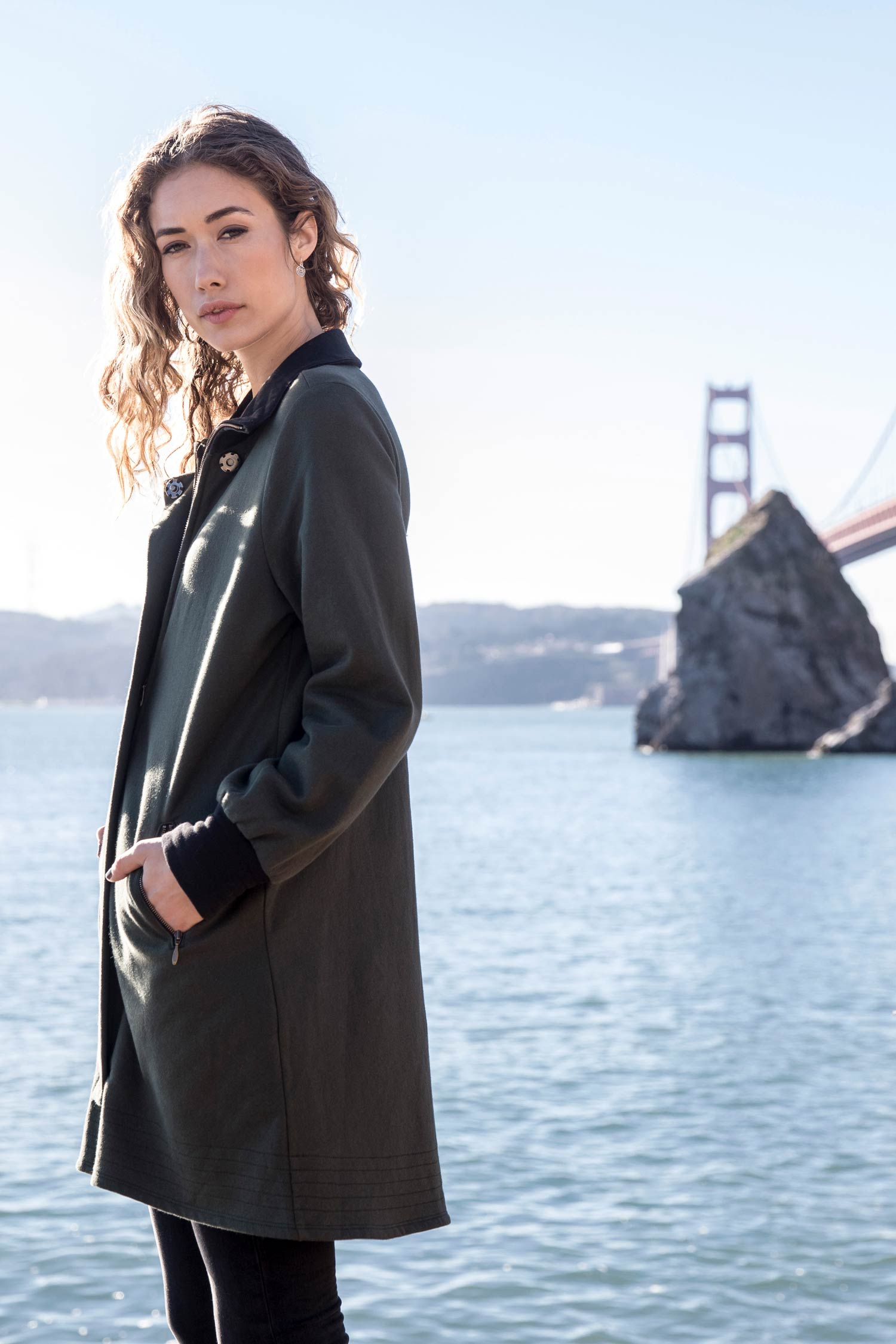 Womens Fleece Bomber Coat | Green | Organic Cotton Clothing