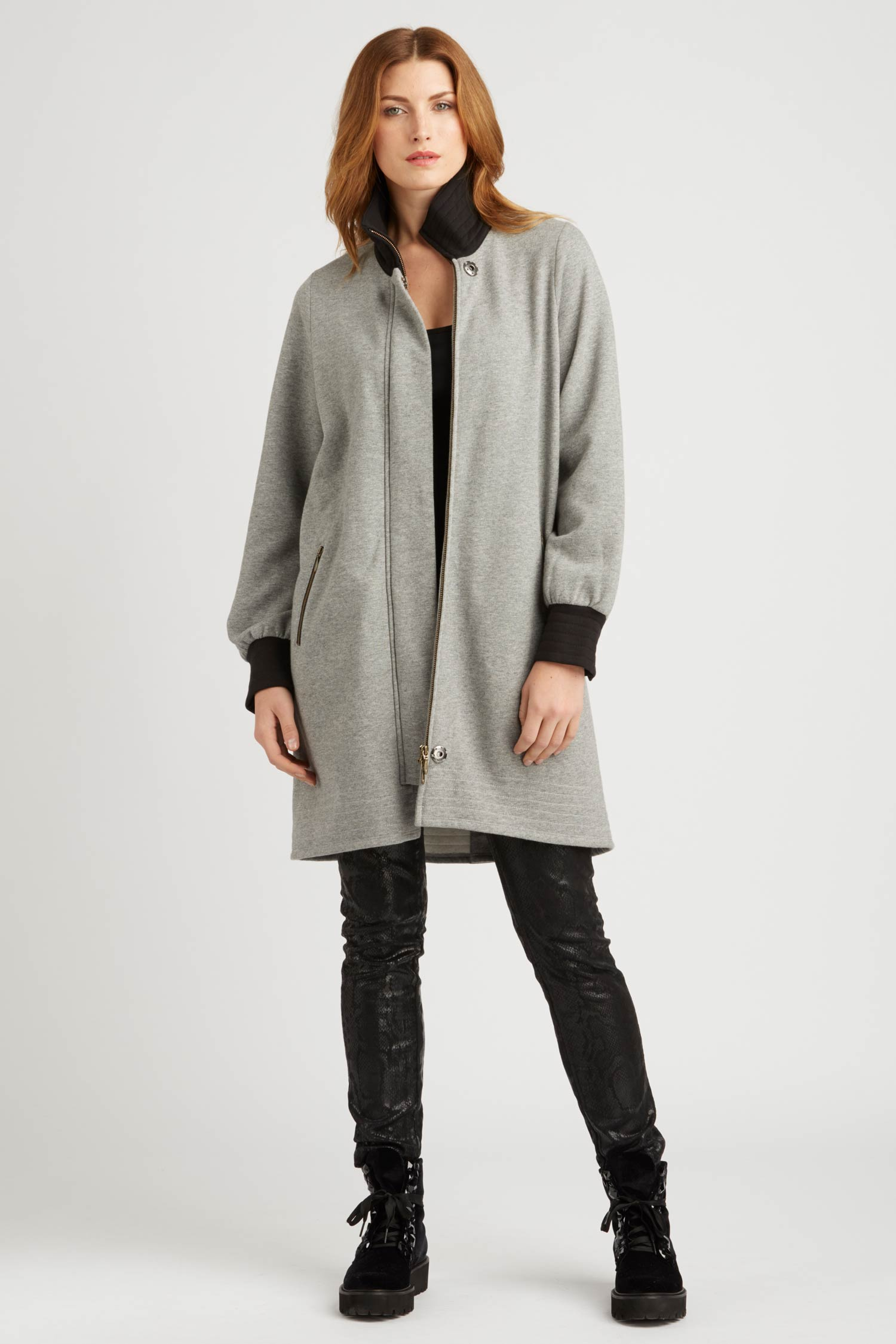 Womens Fleece Bomber Coat | Gray | Organic Cotton Clothing