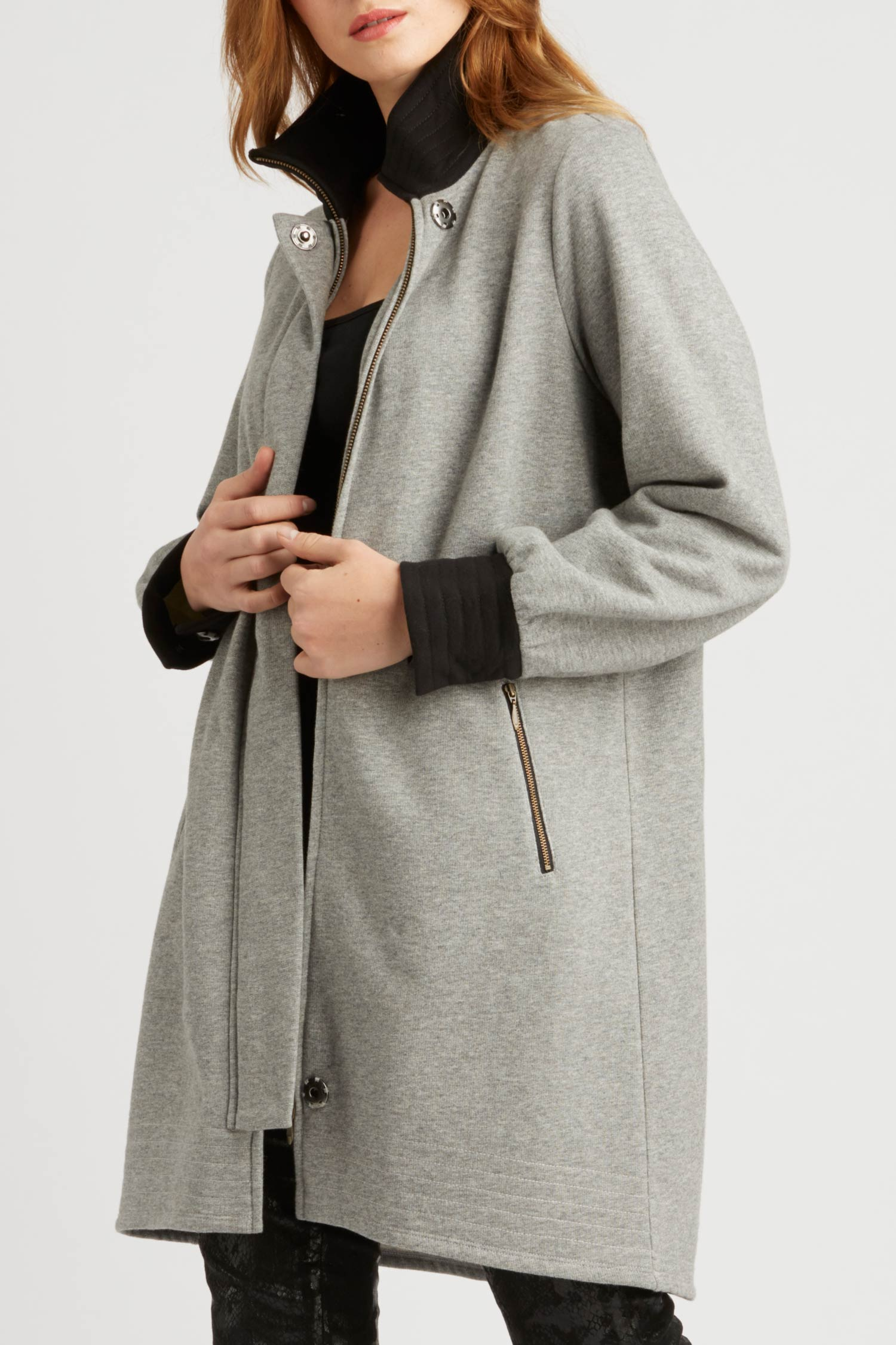 Long Fleece Bomber Coat