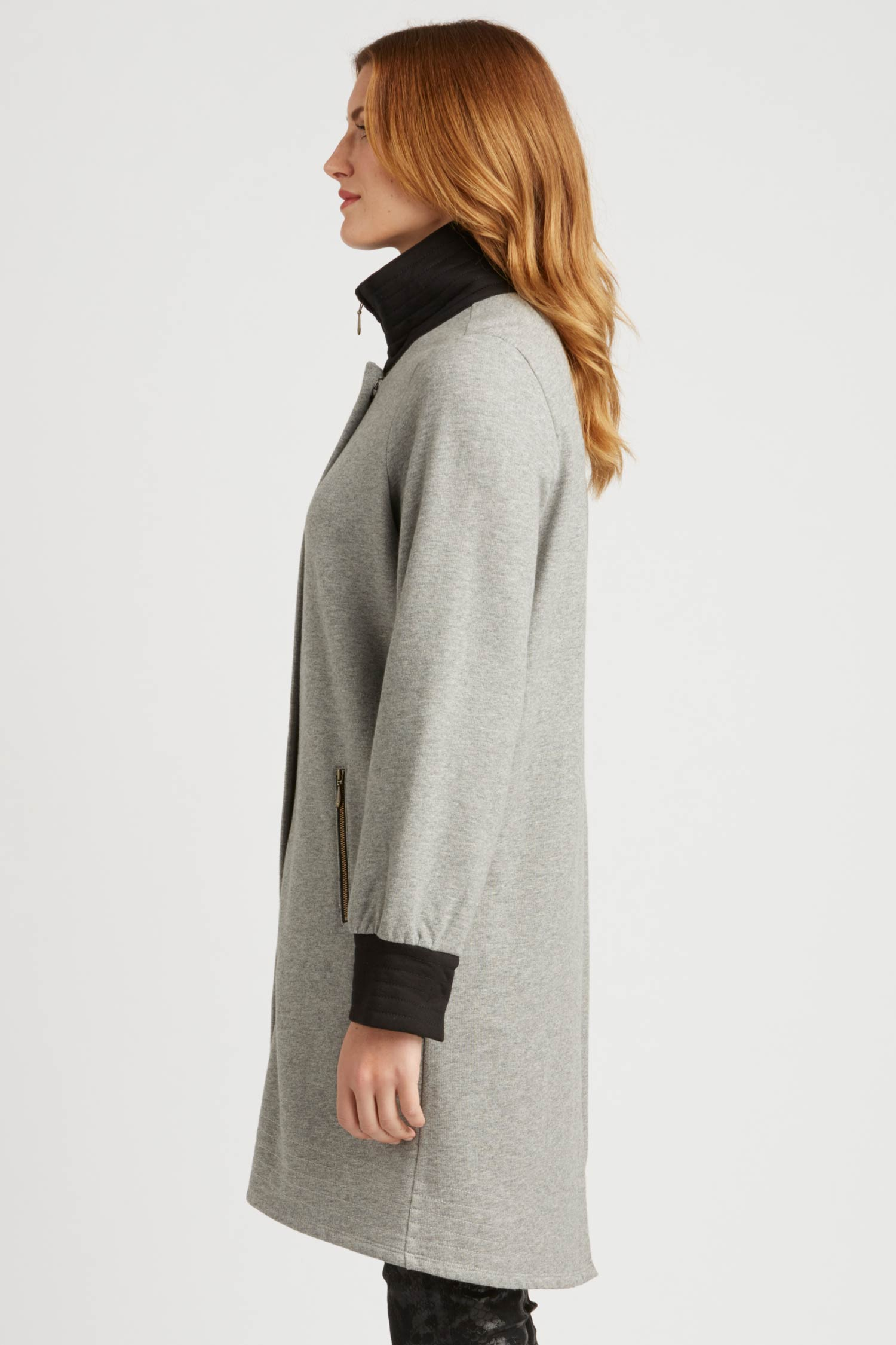 Womens Fleece Bomber Coat | Gray | Sustainable Fashion