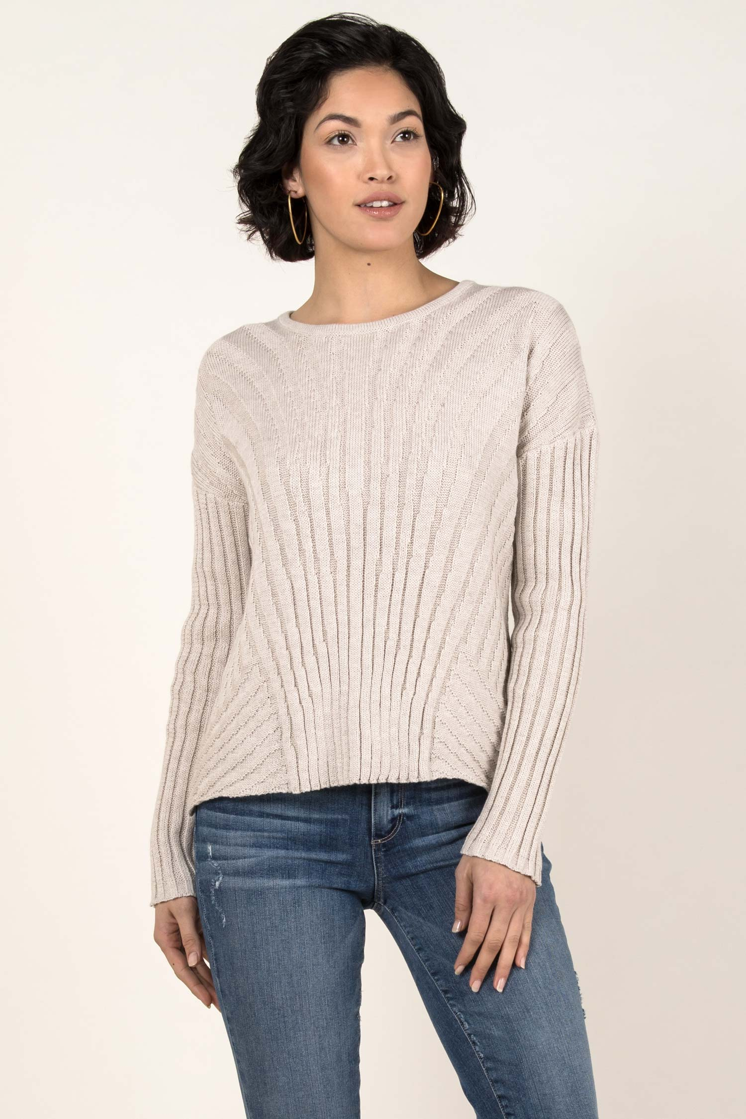 Womens Organic Cotton Sweater | Boxy Rib Pullover | Box Top Sweater | Ivory
