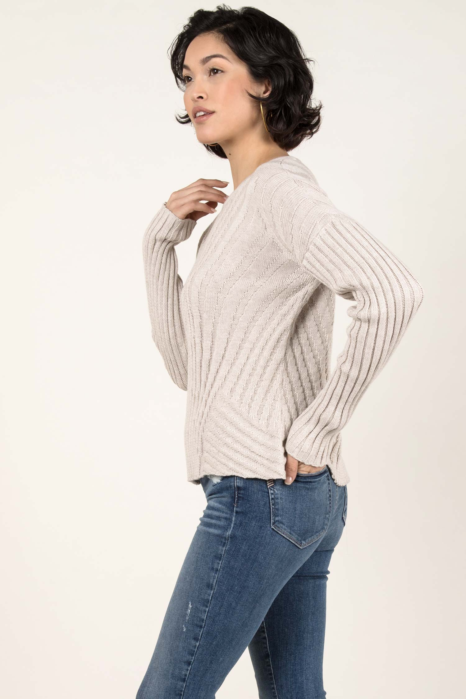 Womens Organic Cotton Sweater | Boxy Rib Pullover | Box Top Sweater | Oatmeal