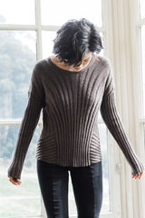Womens Organic Cotton Sweater | Boxy Rib Pullover | Box Top Sweater | Brown