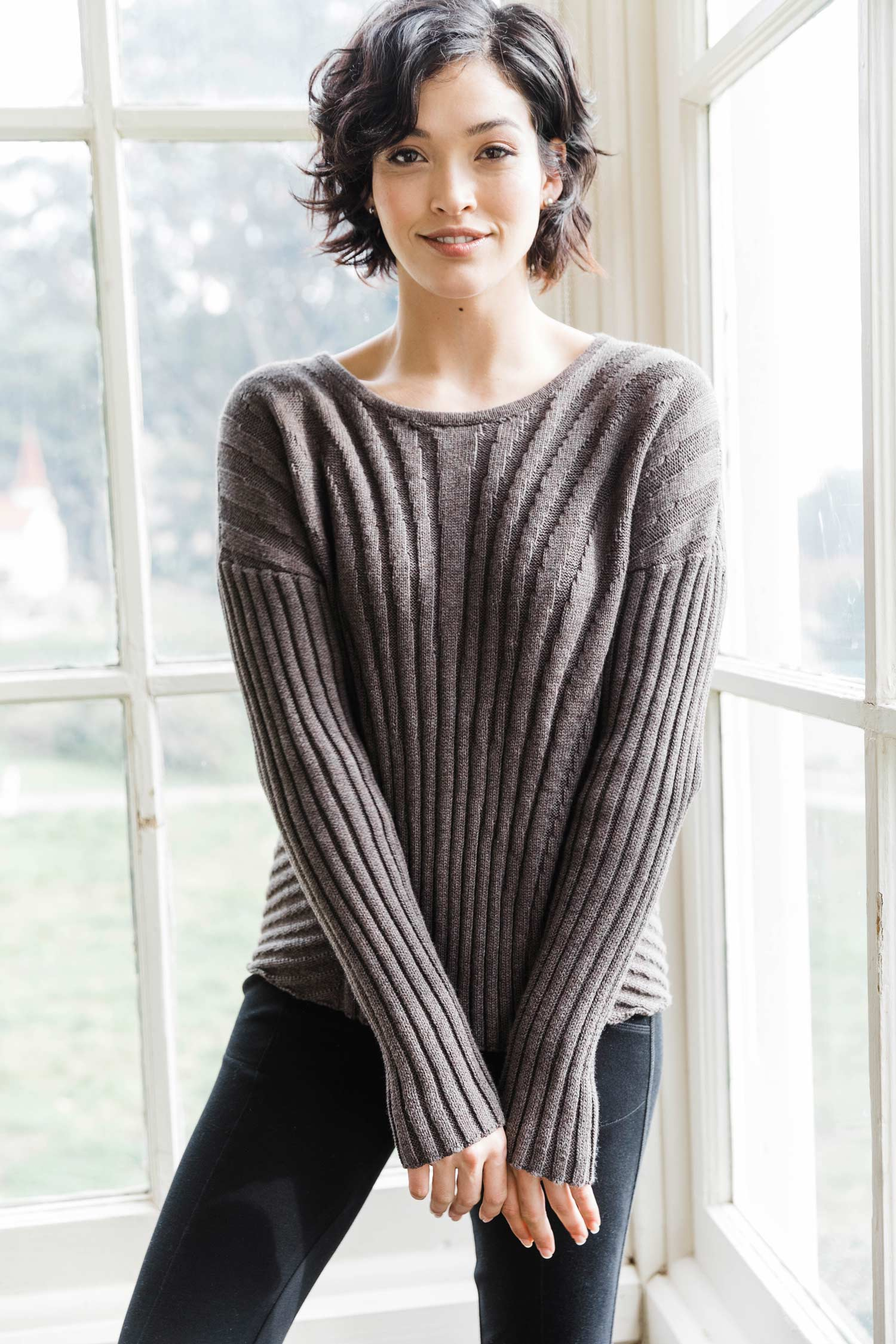 Womens Organic Cotton Sweater | Boxy Rib Pullover | Box Top Sweater | Stone Brown
