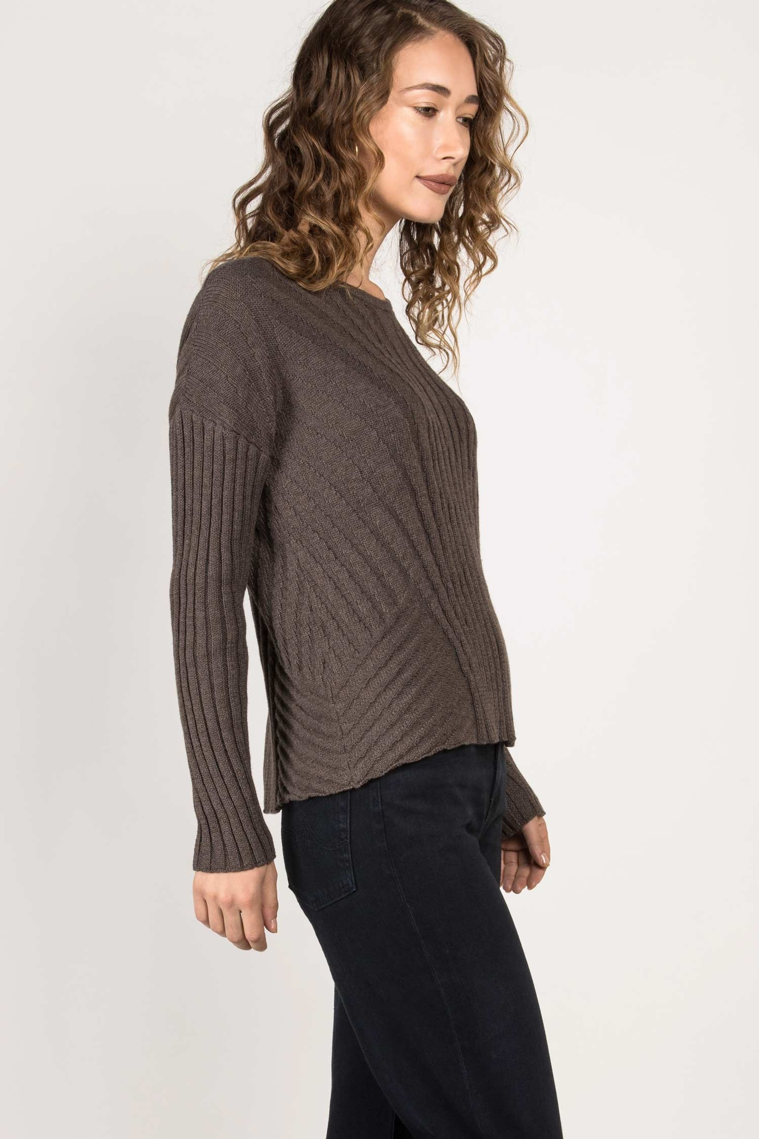Womens Organic Cotton Sweater | Boxy Rib Pullover | Box Top Sweater | Stone