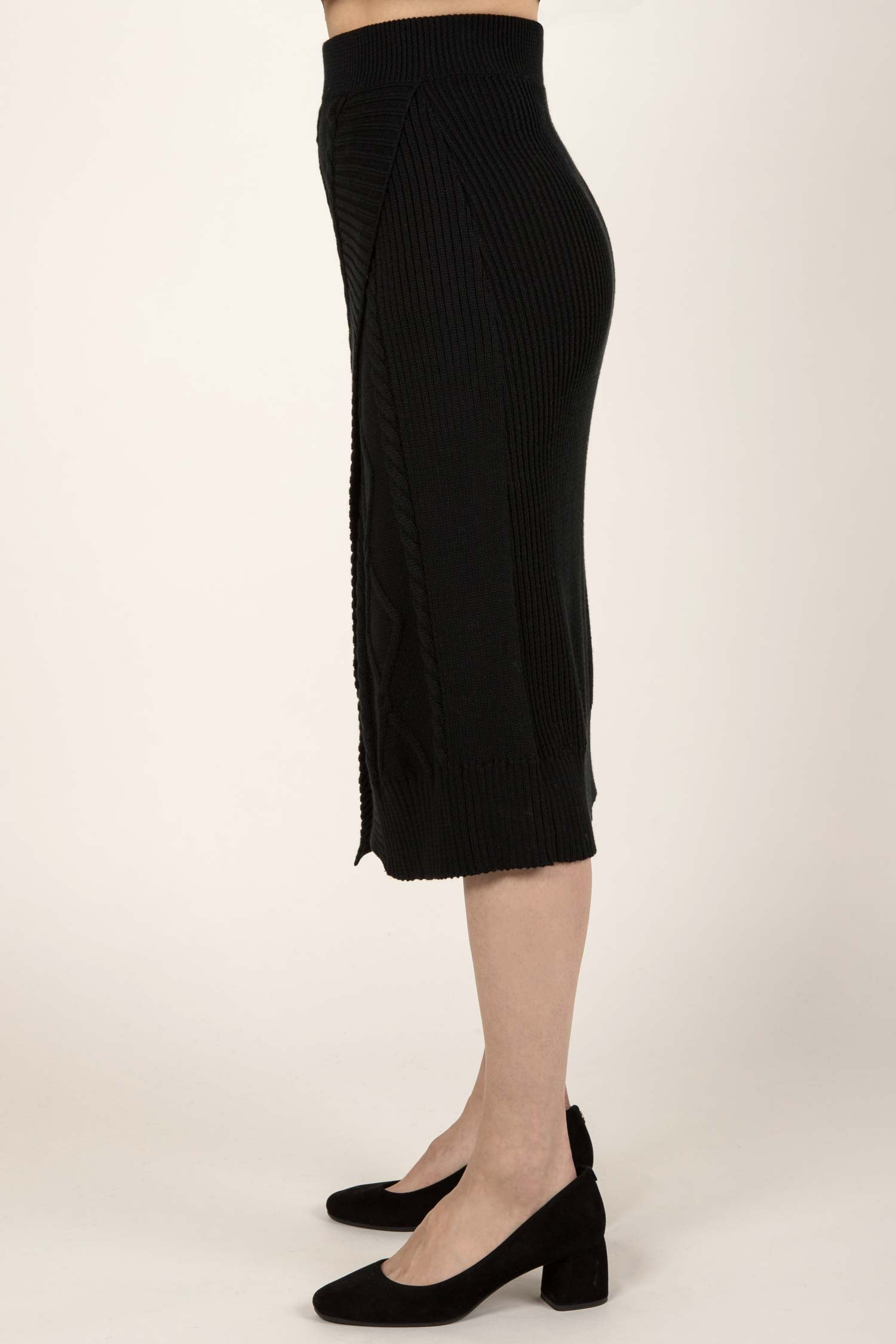 Womens Knit Skirt | Organic Cotton Cable Skirt | Black