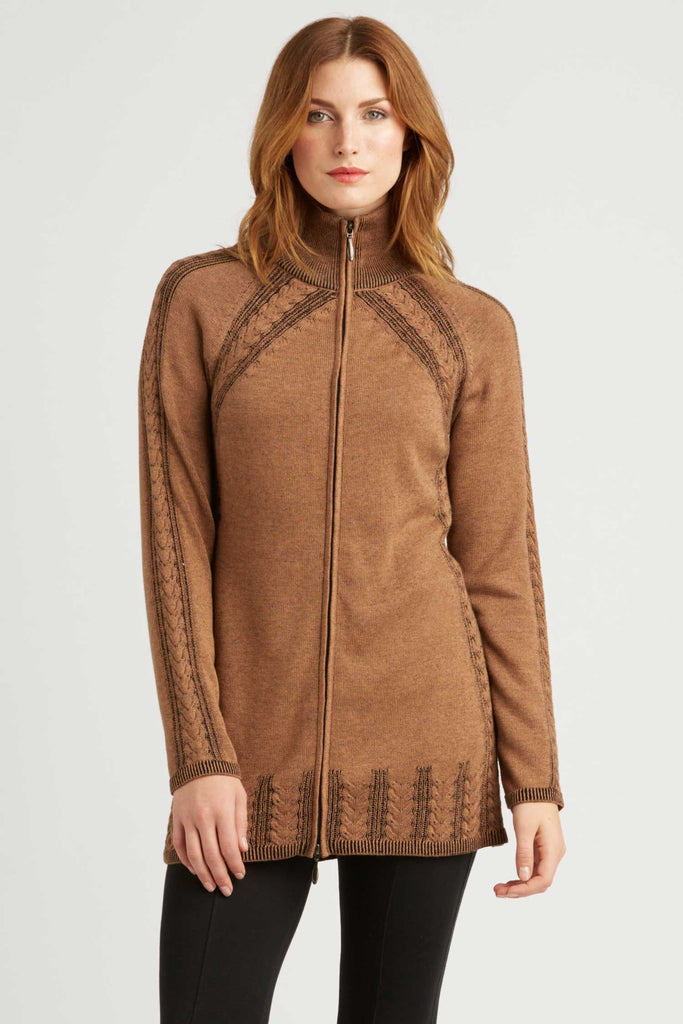 Womens Organic Cotton Sweater | Brown | Cable Zip Cardigan