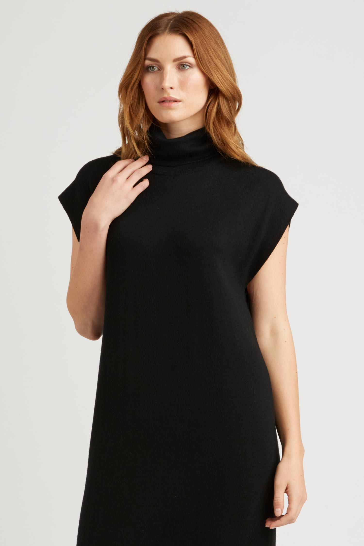womens sustainable fashion dresses \ black cap sleeve knit dress