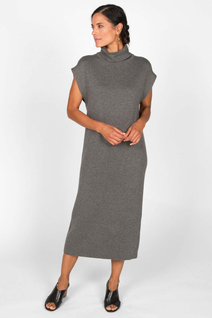 Womens Cap Sleeve Knit Dress in Gray Organic Cotton