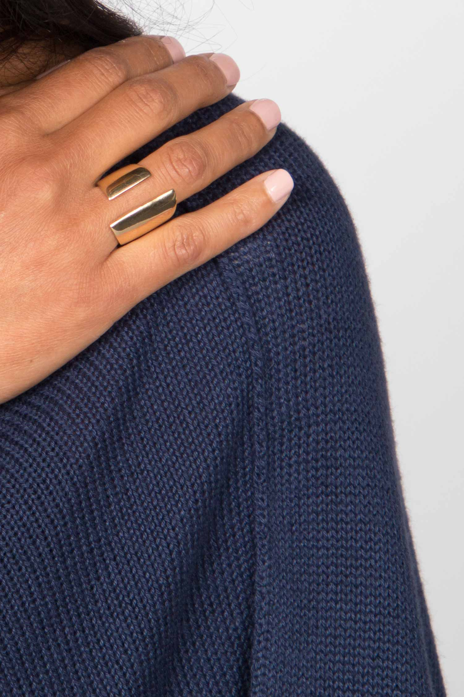 Womens Brass Channel Ring | Ethical Jewelry by SOKO