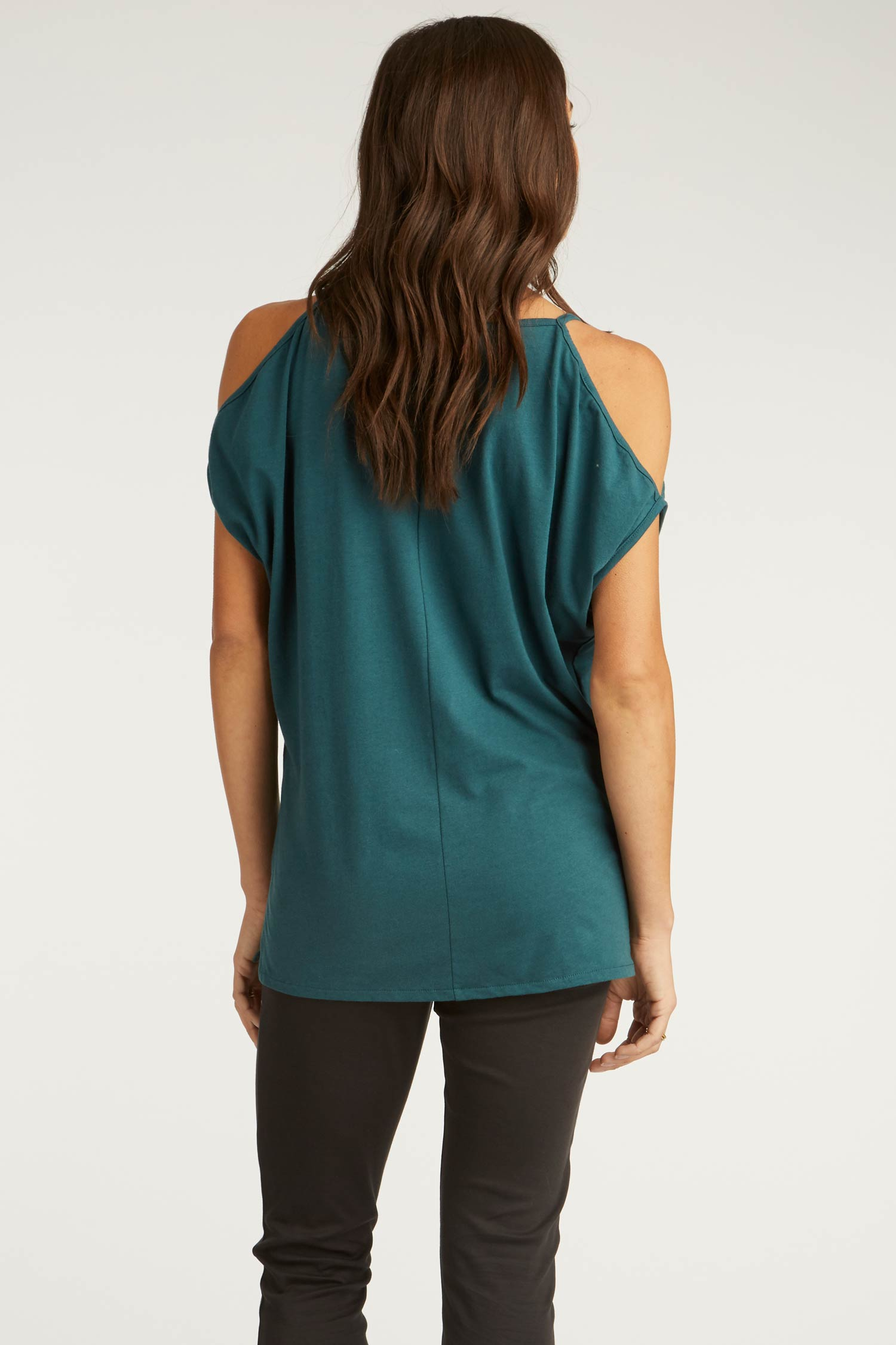 Womens Organic Cotton Blouse | Cold Shoulder Top in Jade Green | Indigenous