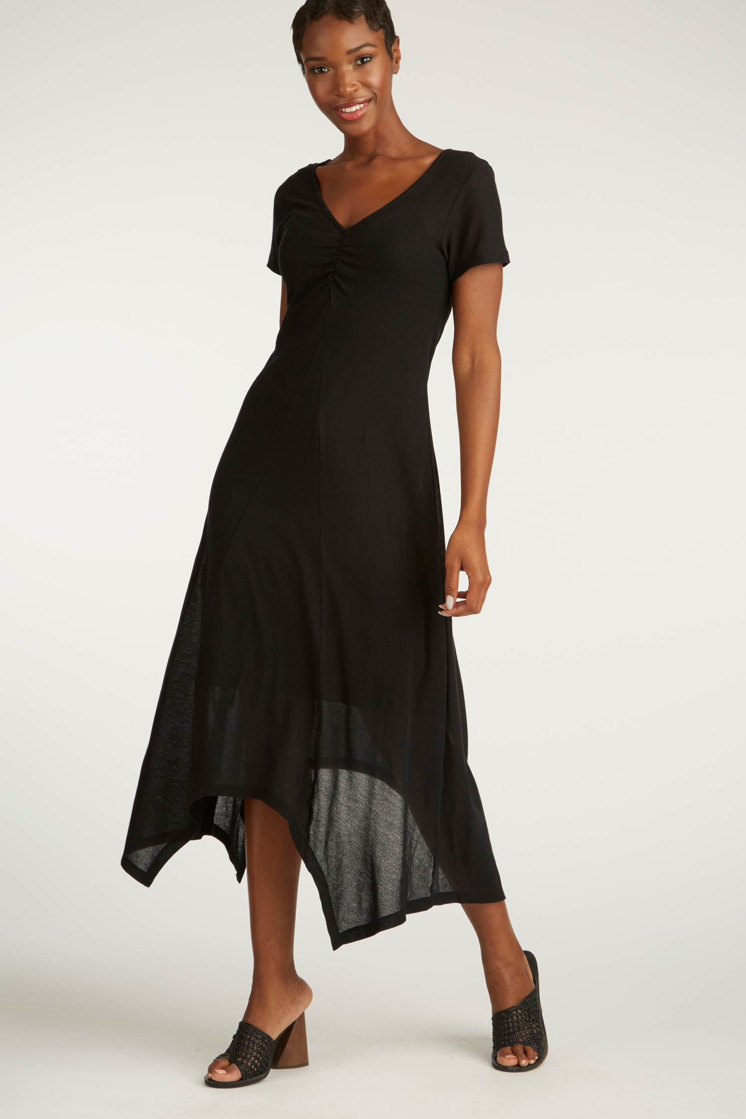 Womens Organic Cotton Dresses | Black Crepe Maxi Dress
