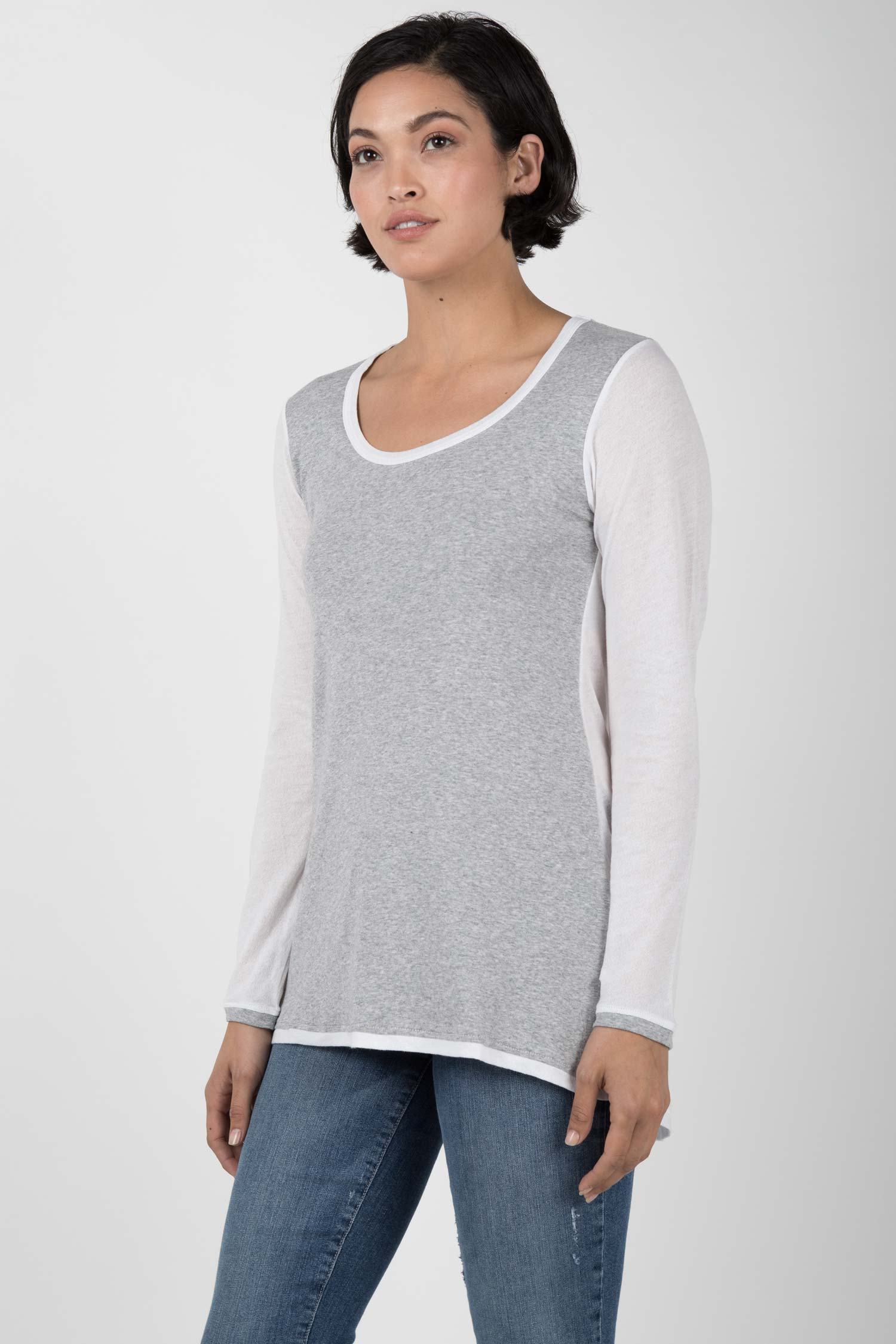 Womens Organic Cotton Tunic Top | Crepe Scoop Tunic | Gray White