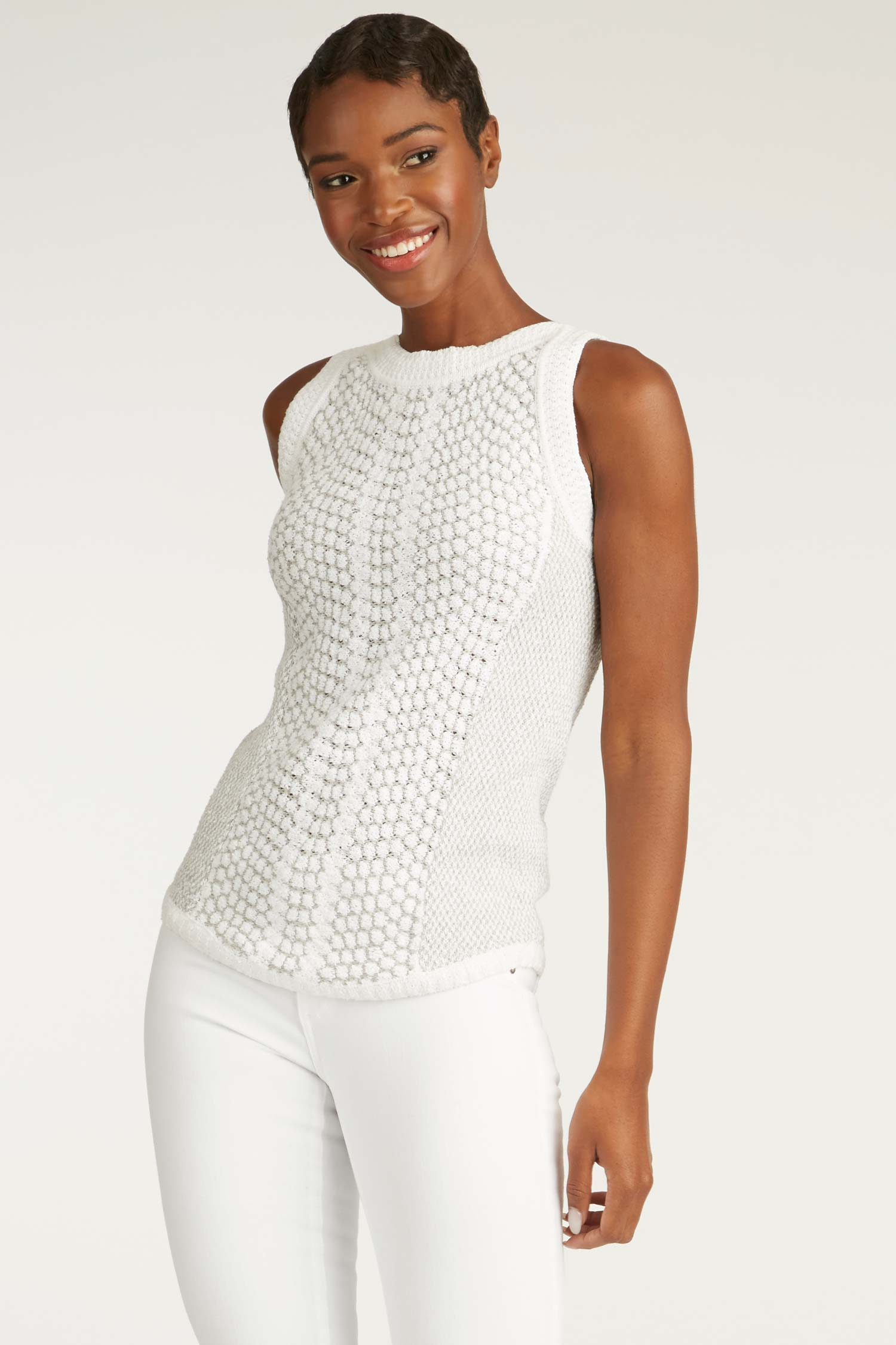 Womens Organic Cotton Crochet + Knit Top | White Gray |  Indigenous