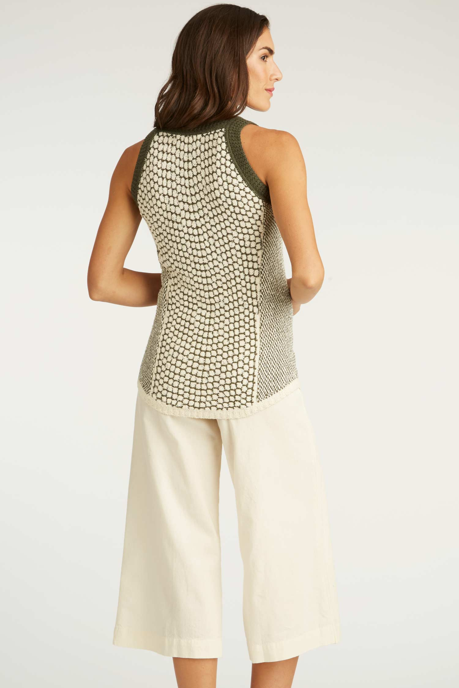 Womens Organic Cotton Crochet + Knit Top | Indigenous