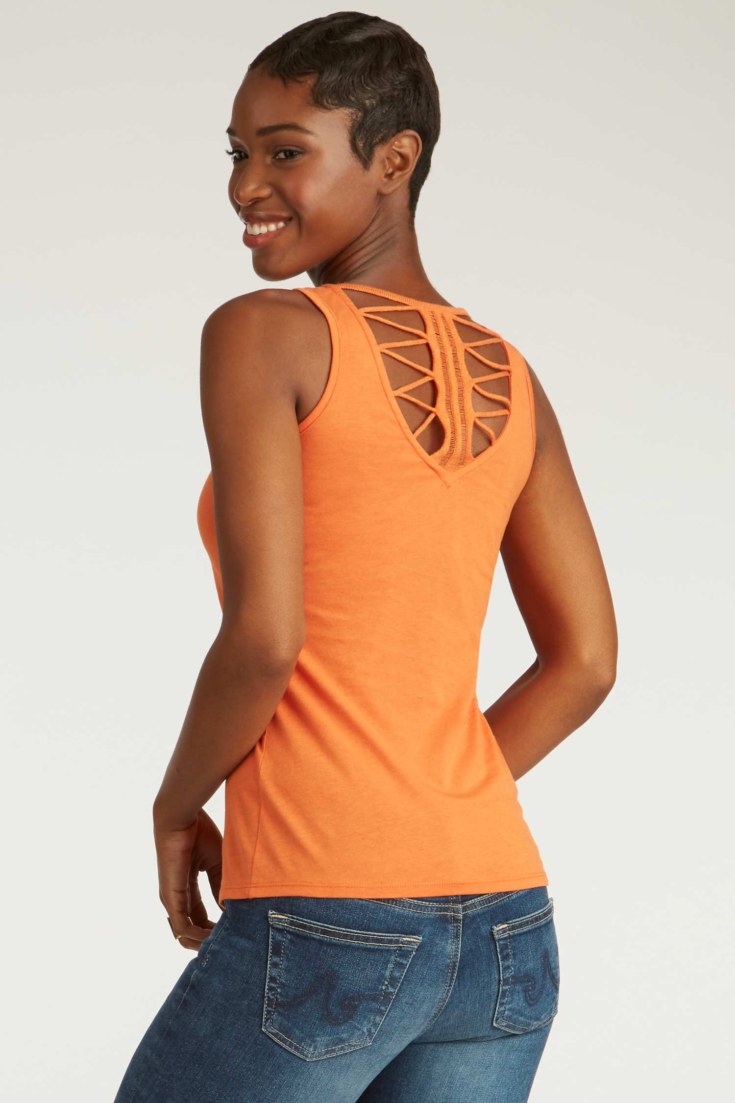 Womens Organic Cotton Top | Crochet Back Tank | Orange