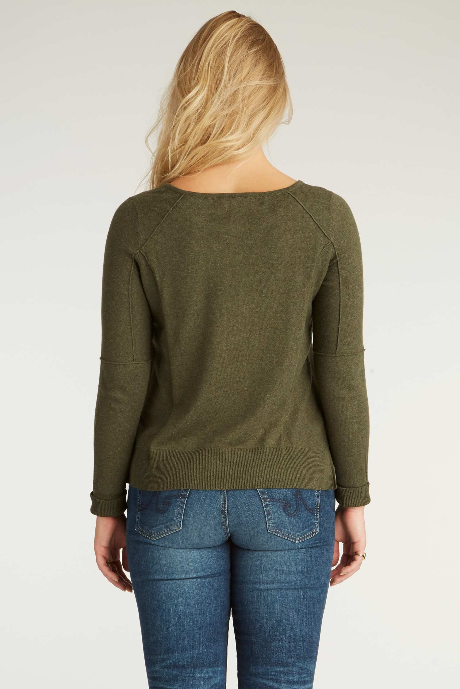 Womens Organic Cotton Sweater - Cropped Knit Pullover - Moss Green - Indigenous