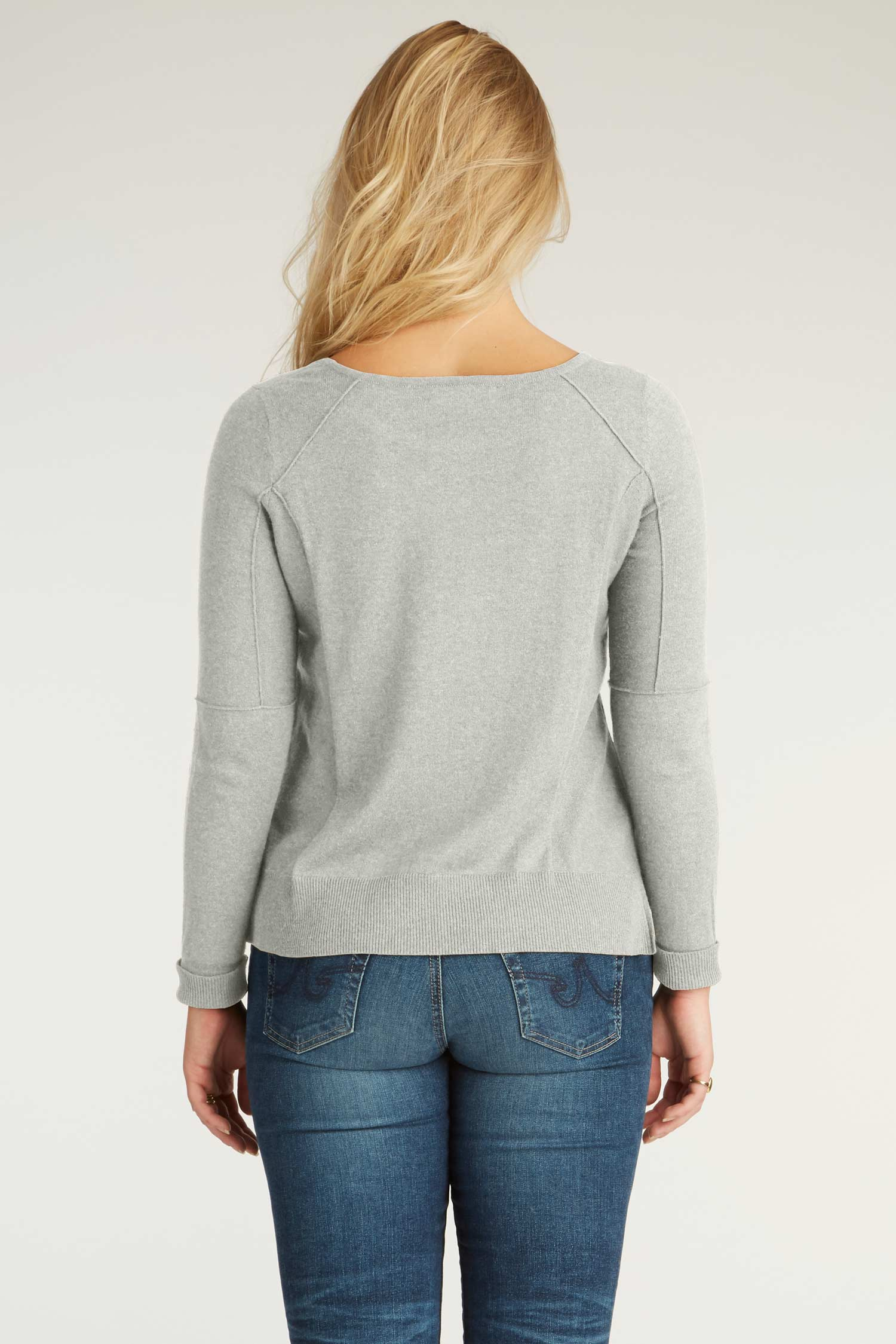 Womens Organic Cotton Sweater - Cropped Knit Pullover - Gray - Indigenous