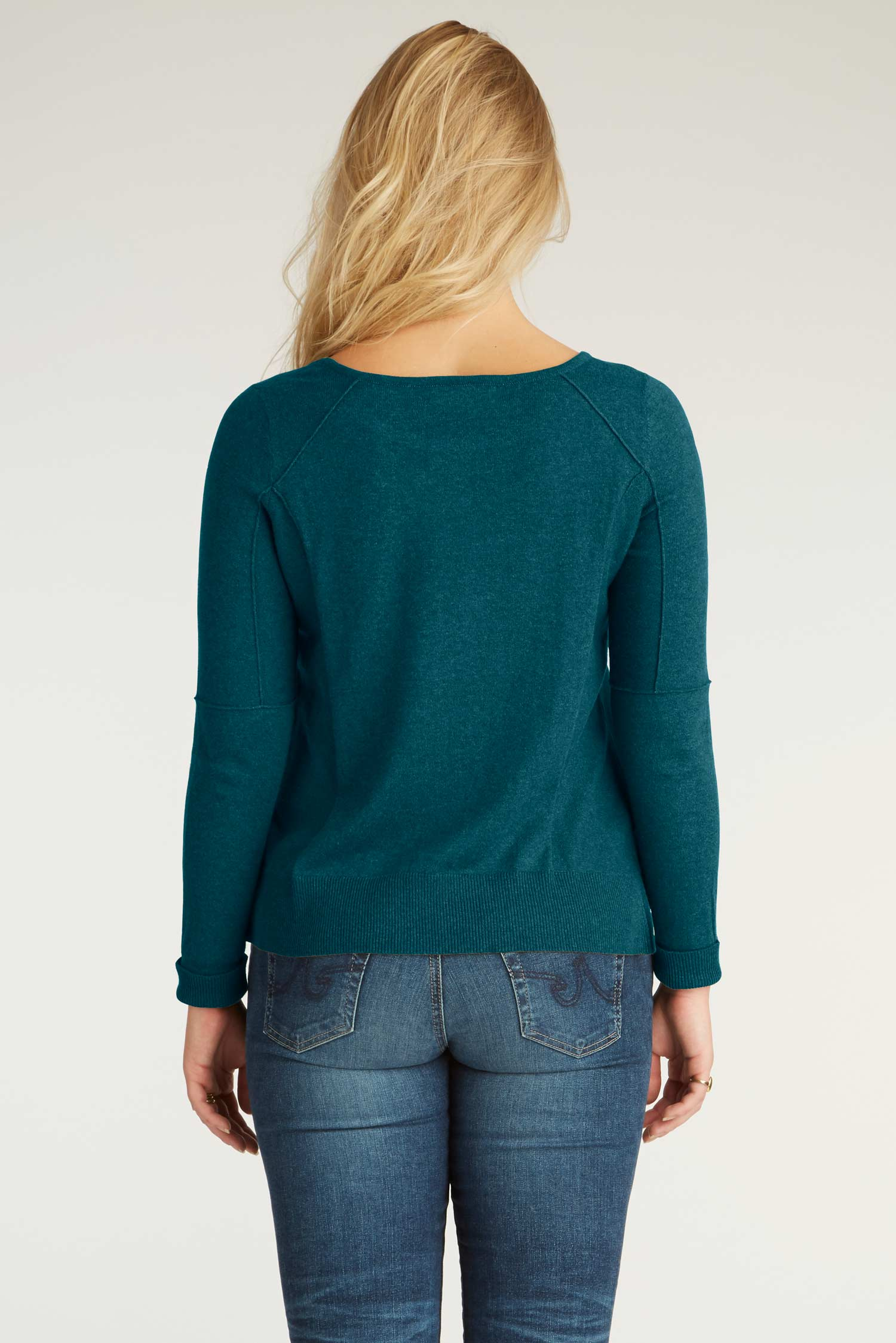 Womens Organic Cotton Sweater - Cropped Knit Pullover - Water Blue - Indigenous