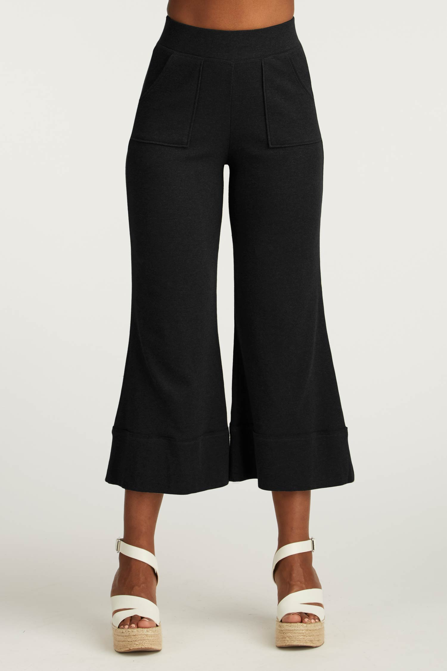 Womens Organic Cotton Pants | Cropped Wide Leg Pant | Black