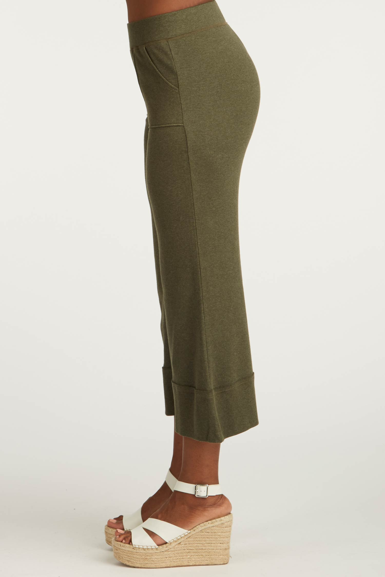 Womens Organic Cotton Pants | Cropped Wide Leg Pant | Green
