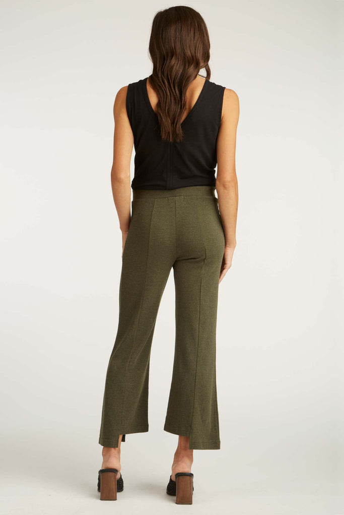 Womens Organic Cotton Pants | Cropped Slit Pant | Moss Green | Indigenous