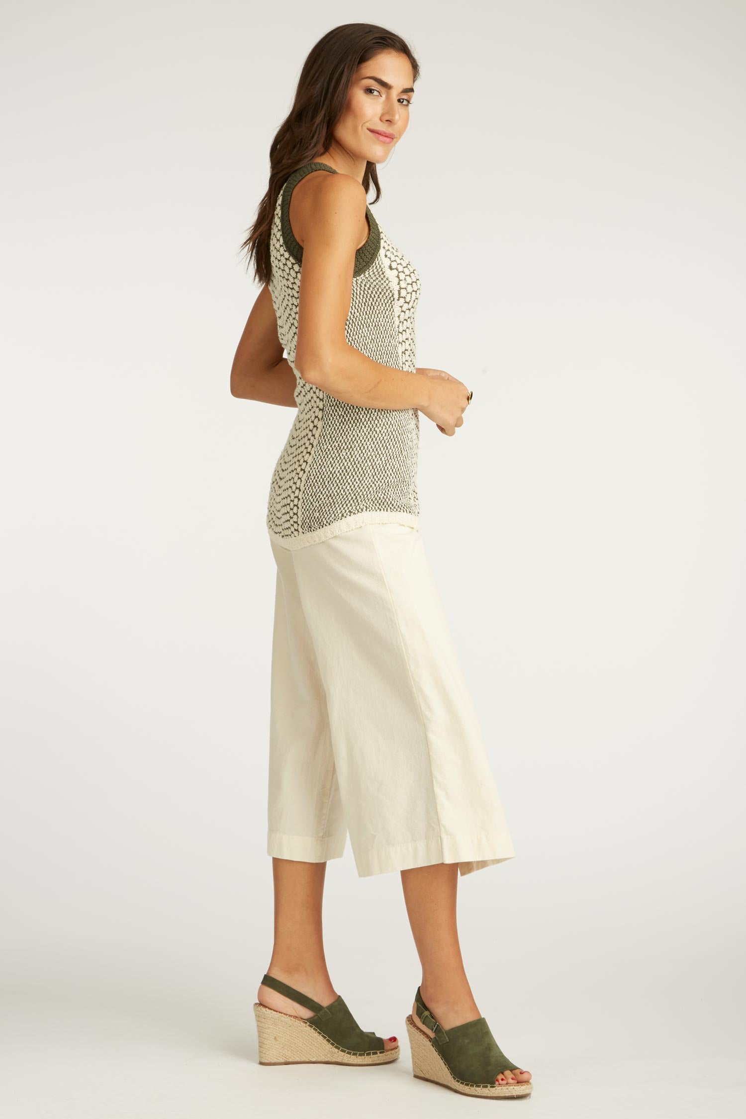 Womens Undyed Organic Cotton Woven Cropped Pants | Natural Color