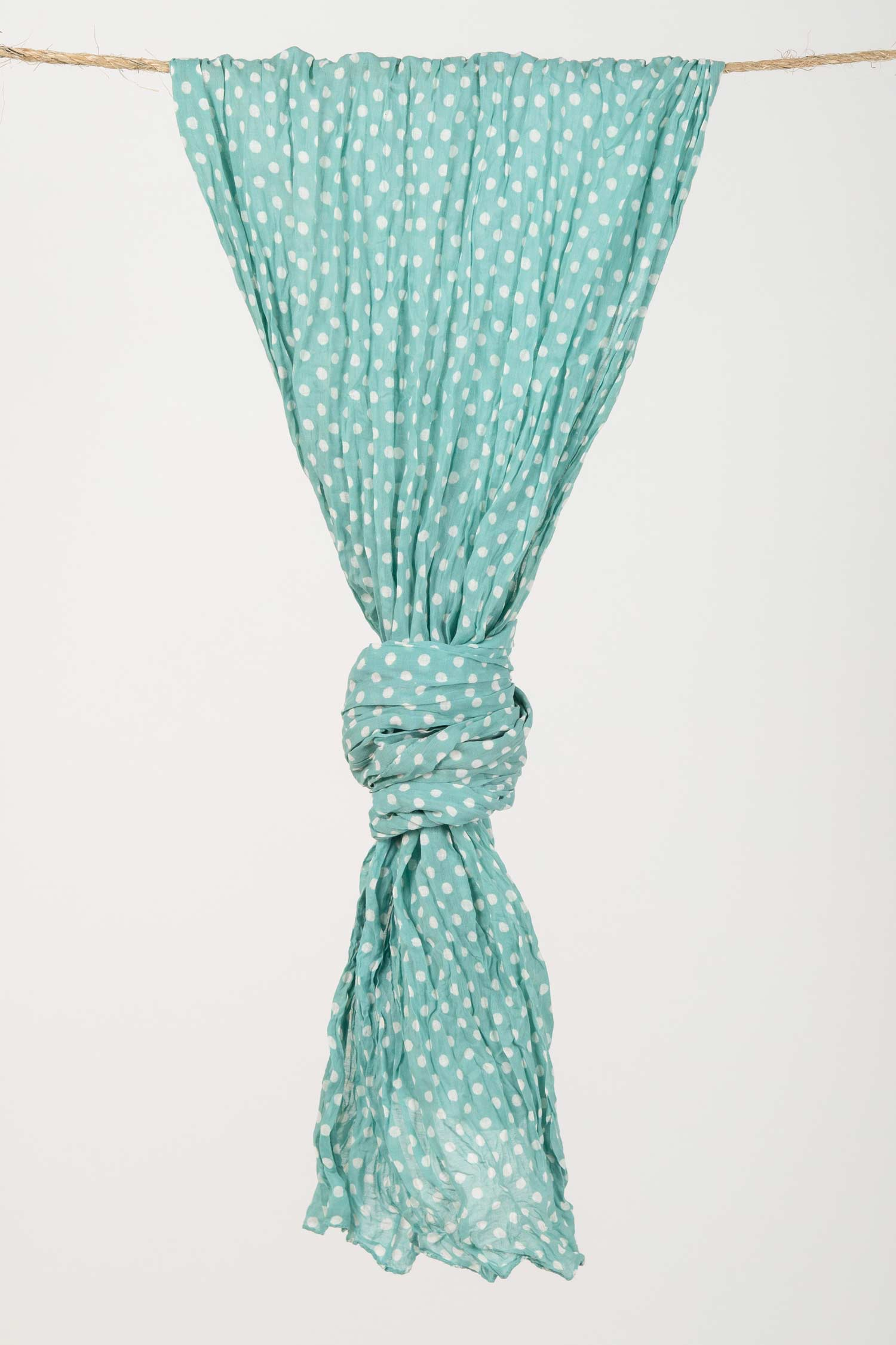 Womens Organic Cotton Scarf | Dabu Dot Block Print Scarves | Aqua Blue