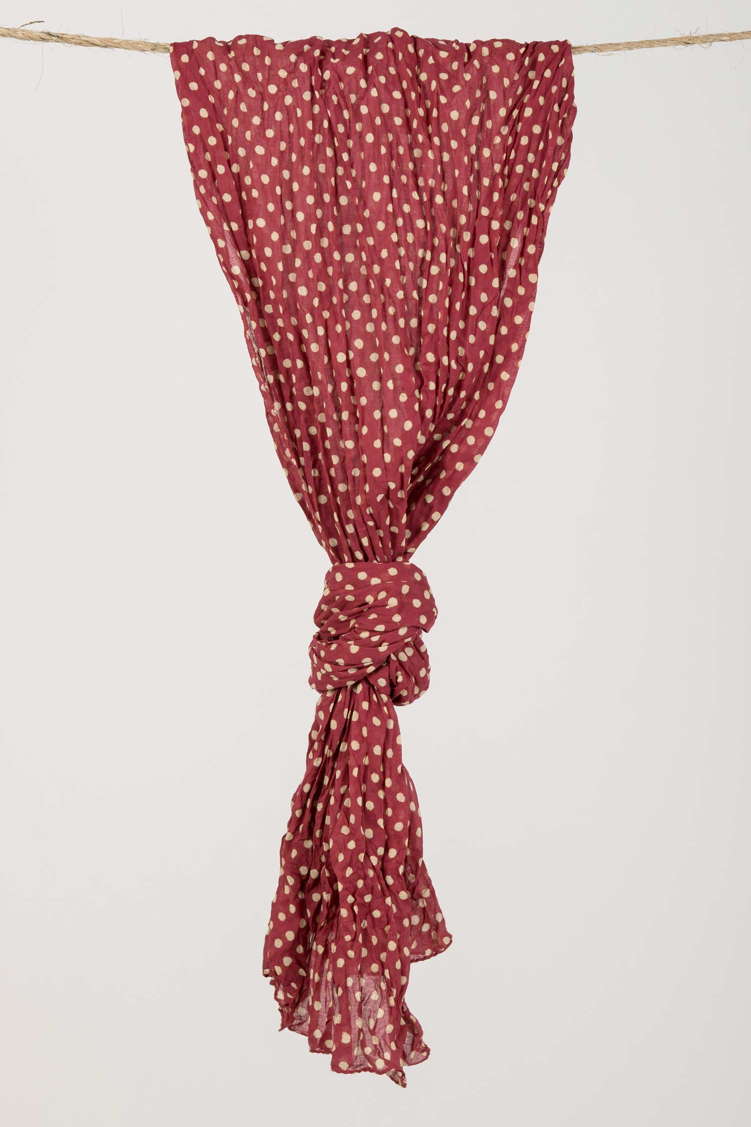 Womens Organic Cotton Scarf | Dabu Dot Block Print Scarves | Red